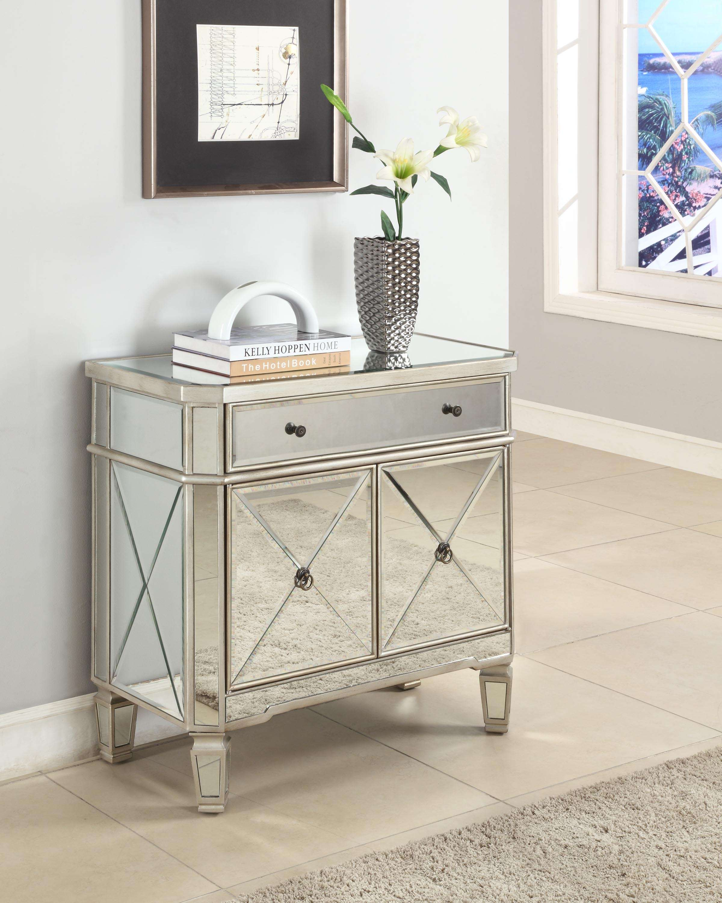 Silver Mirrored 1-Drawer, 2-Door Console