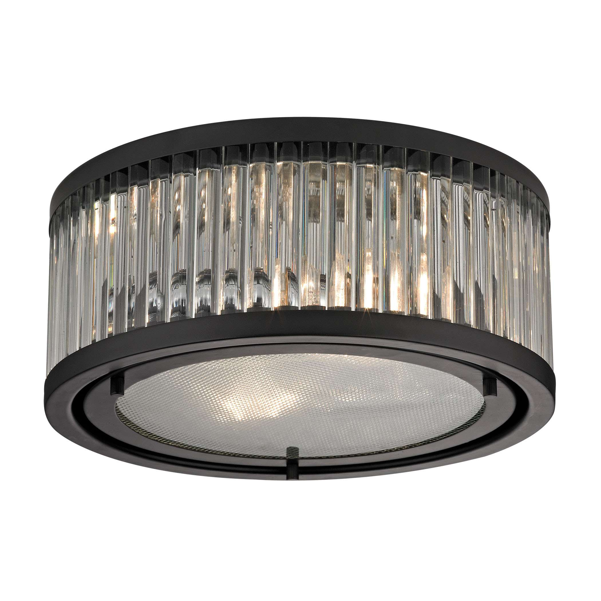 Linden Manor 2 Light Flushmount In Crystal And Oil Rubbed Bronze