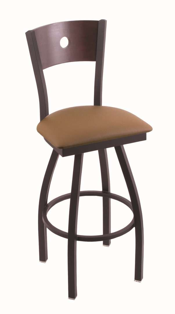 """830 30"""" Voltaire Black Wrinkle Swivel Stool with Dark Cherry Maple Back and Allante Beechwood Seat"""