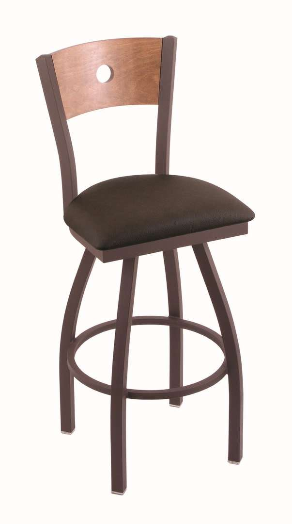 "830 30"" Voltaire Bronze Swivel Stool with Medium Maple Back and Rein Coffee Seat"