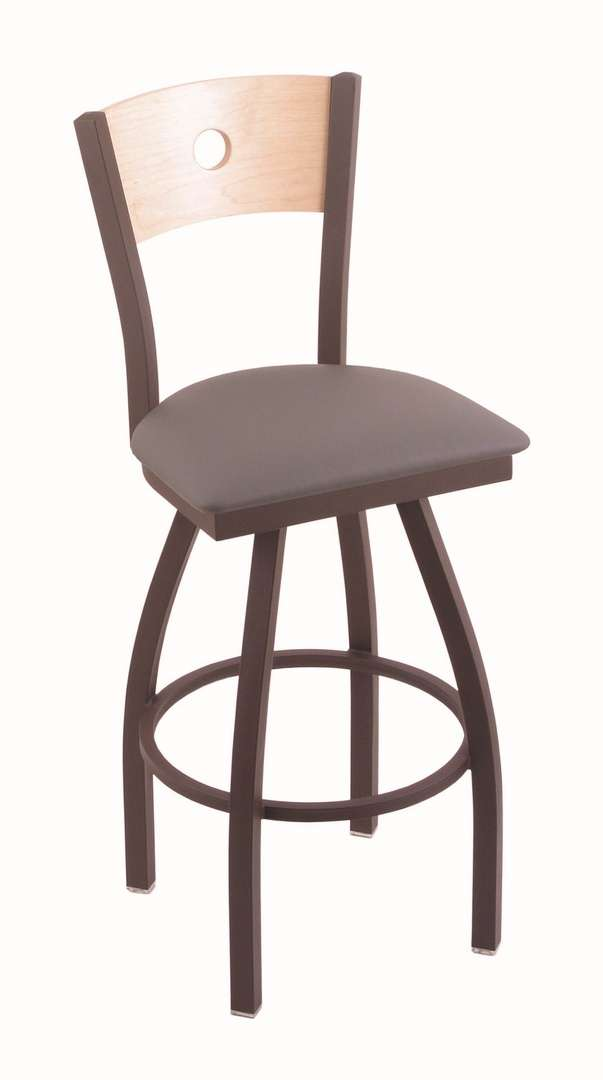 """830 36"""" Voltaire Bronze Swivel Stool with Natural Maple Back and Allante Medium Grey Seat"""