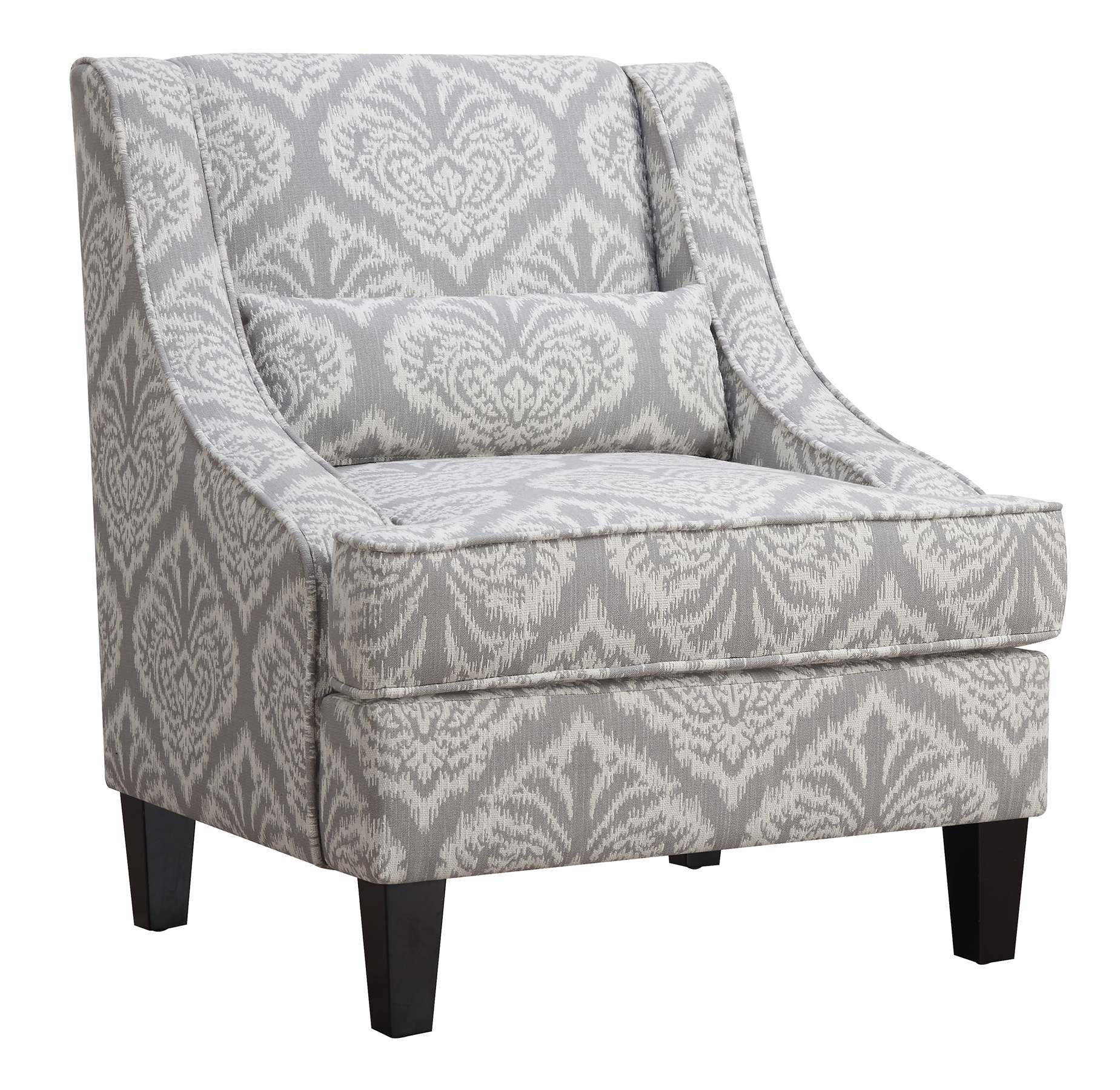 Gray and White Jacquered Accent Chair