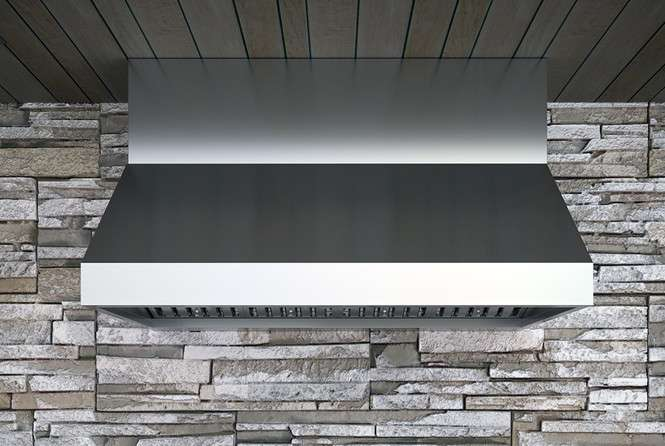 "Essentials Power Cypress 48"" Stainless Steel Outdoor Canopy Pro Style Wall Mount Range Hood - 1200 CFM"