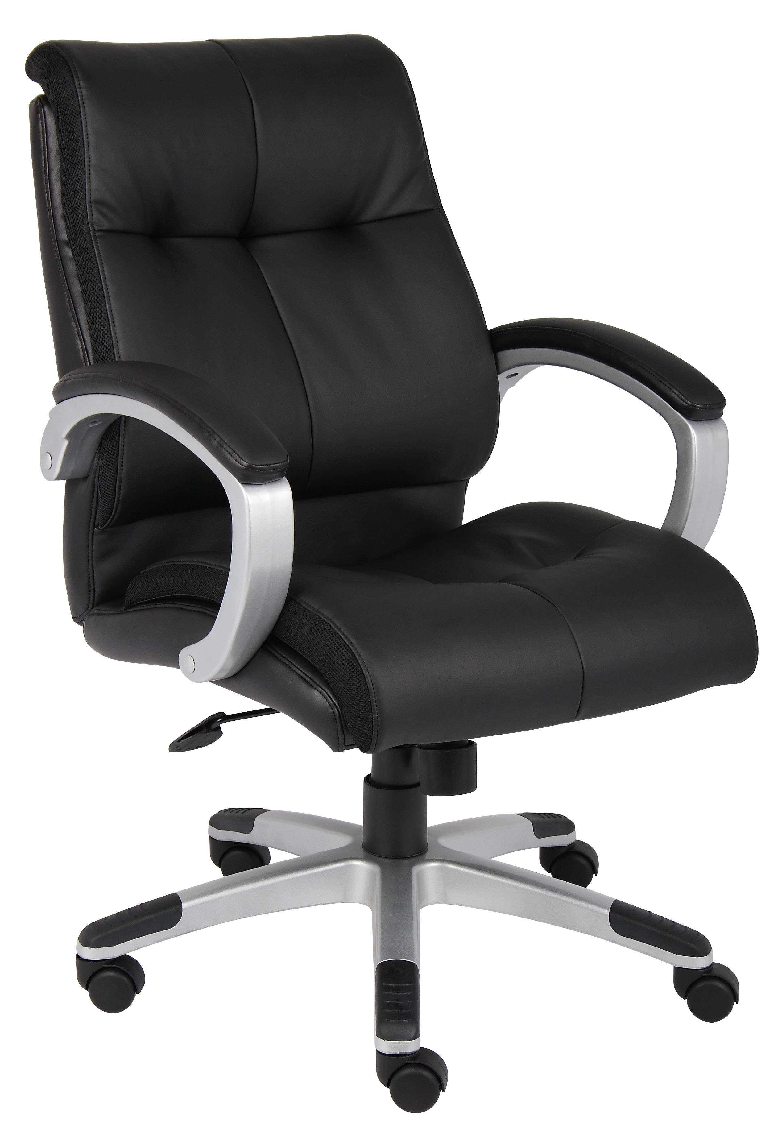 Black Plush Mid-Back Executive Chair in Silver Finish