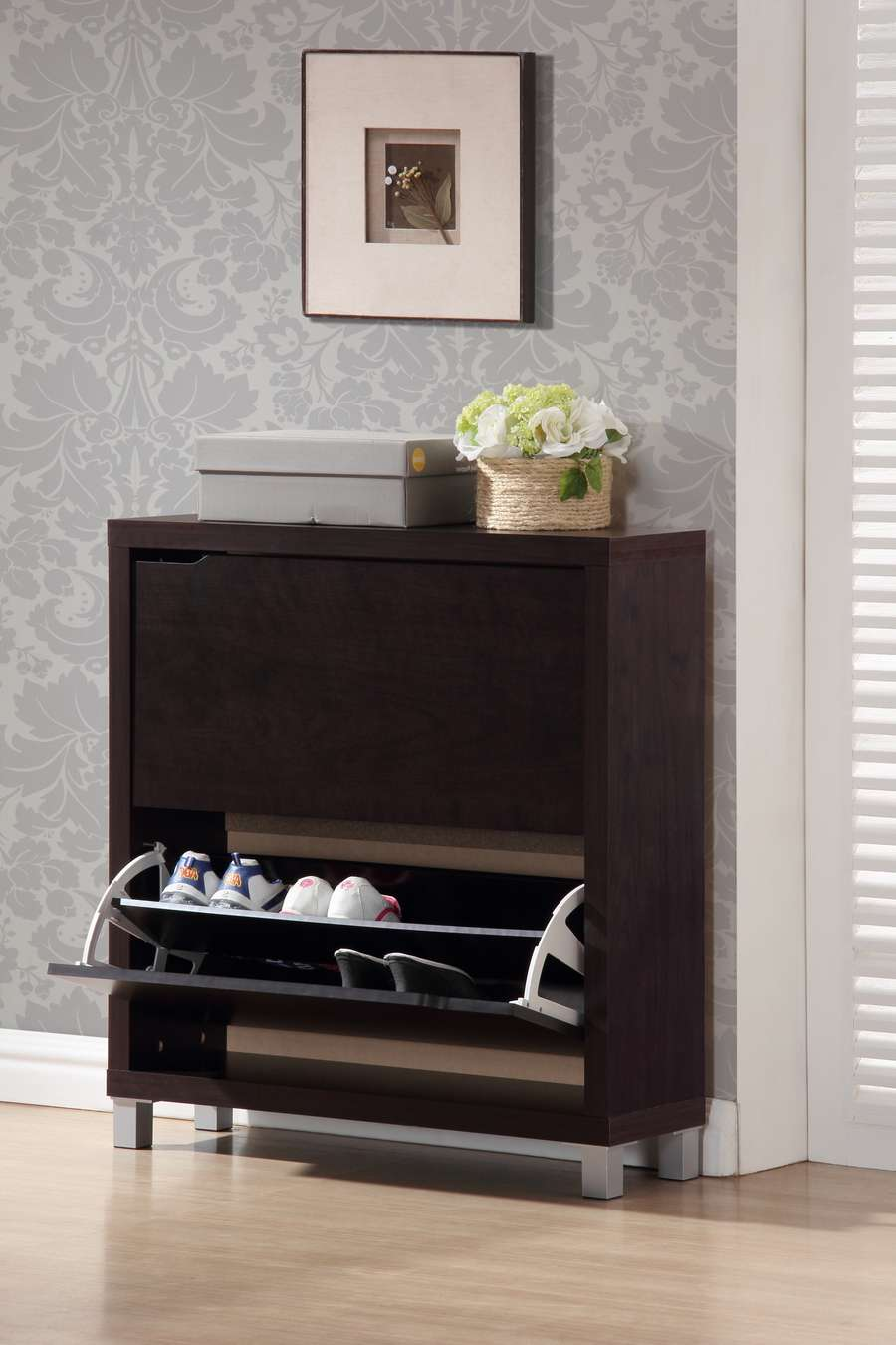 Simms Modern Shoe Cabinet In Dark Brown