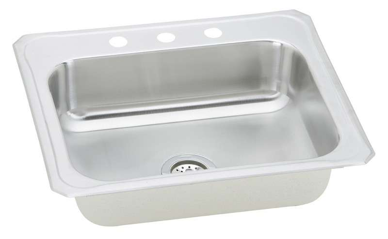 Gourmet Drop In/Self Rimming Steel Kitchen Sink CR25223 Bright Satin (with 2 Faucet Holes)