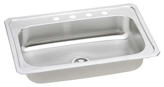 Gourmet Drop In Steel Kitchen Sink CRS33223 Bright Satin (with 3 Faucet Holes)