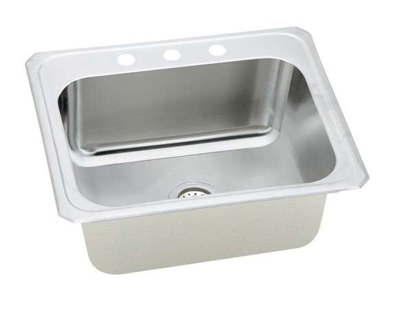 Gourmet Drop In/Self Rimming Steel Kitchen Sink DCR2522102 Bright Satin (with 2 Faucet Holes)