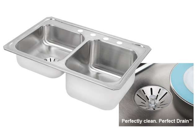 Gourmet Drop In/Self Rimming Steel Kitchen Sink STLR3322RPDMR2 Stainless Steel - With Perfect Drain (with 2 Faucet Holes)