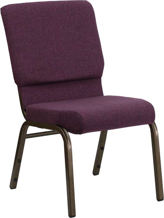 HERCULES Series 18.5''W Plum Fabric Stacking Church Chair with 4.25'' Thick Seat - Gold Vein Frame