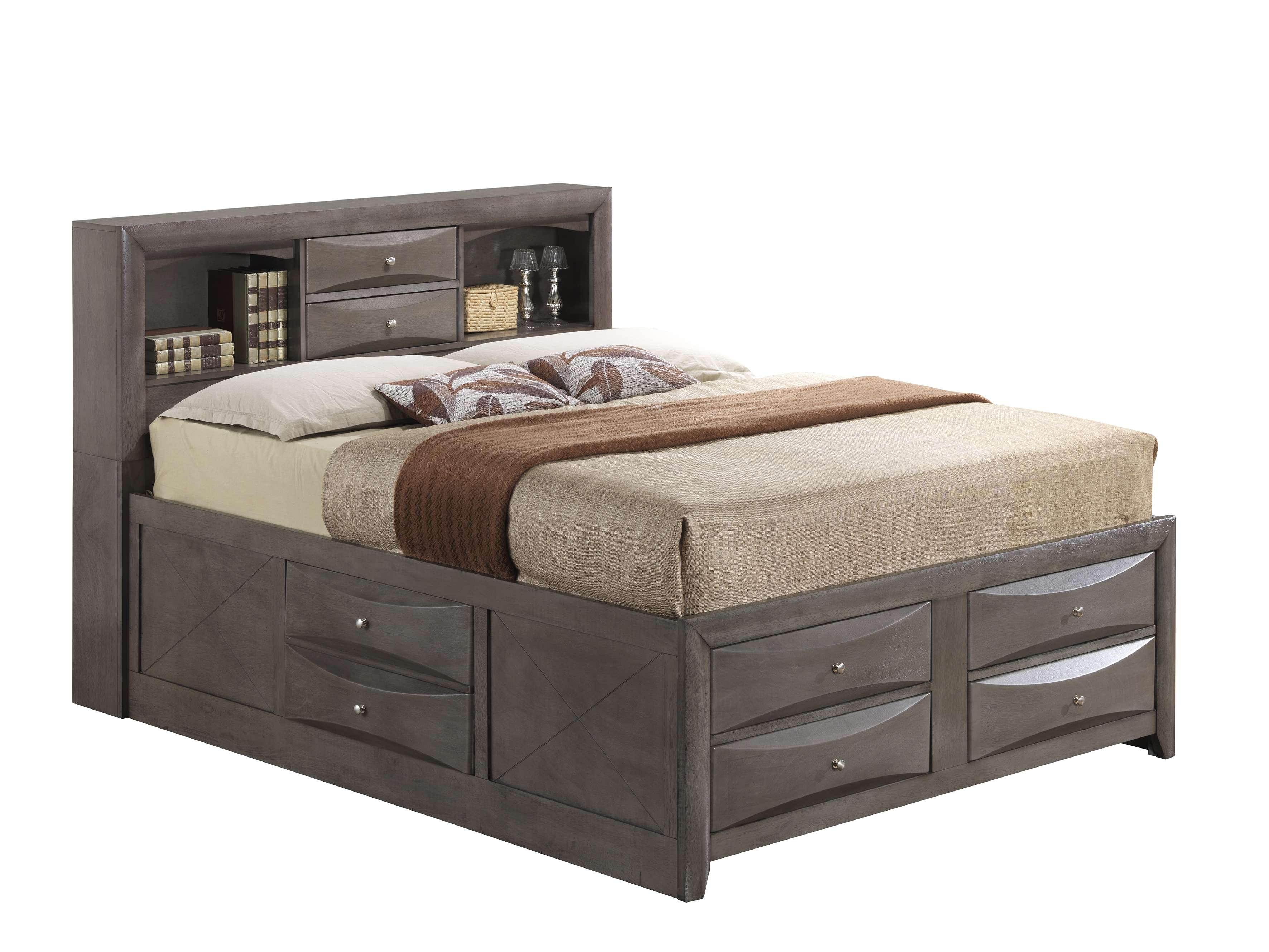 Gray King Storage Bed