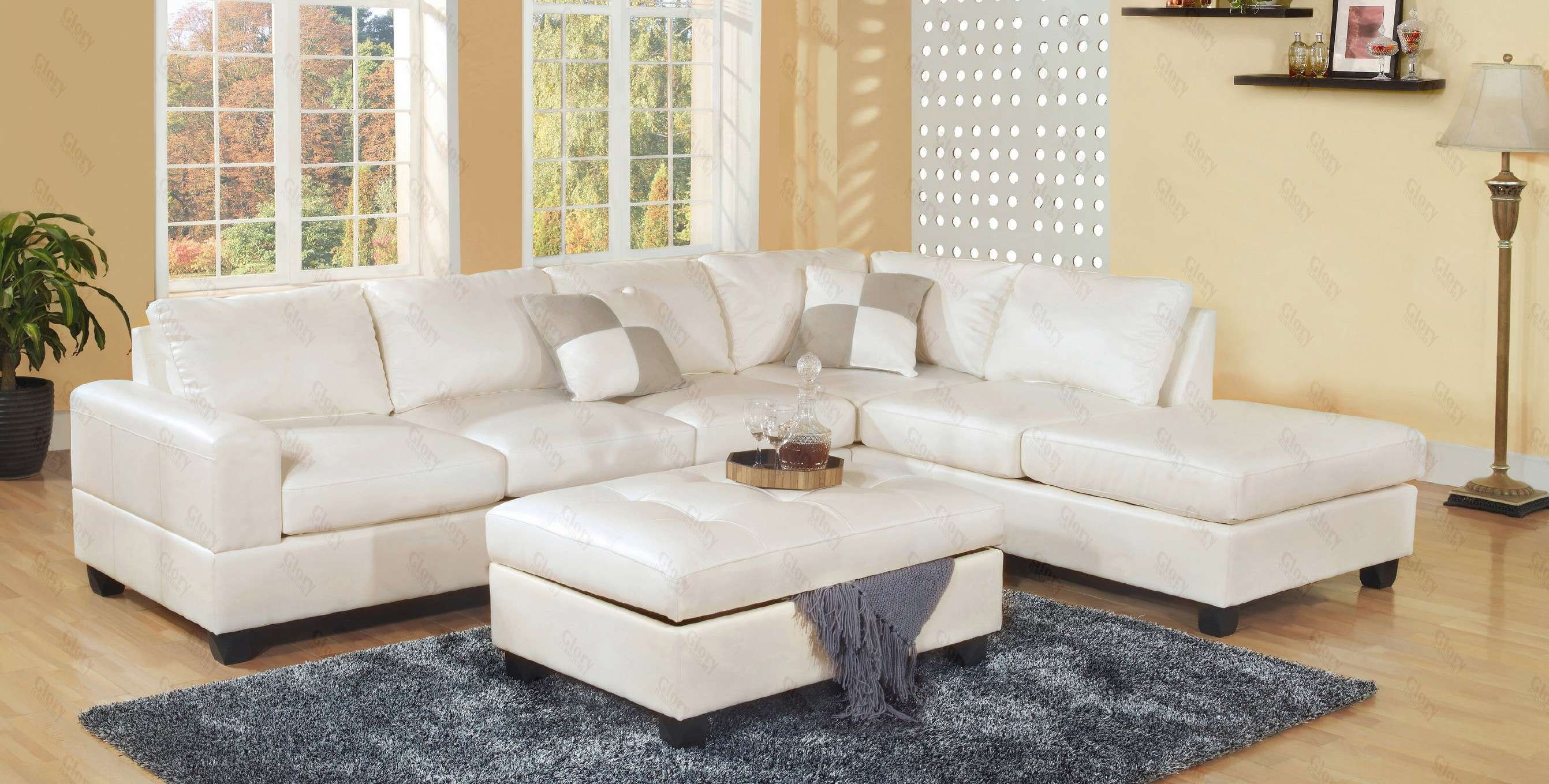 White Bonded Leather Sectional Sofa with Storage Ottoman