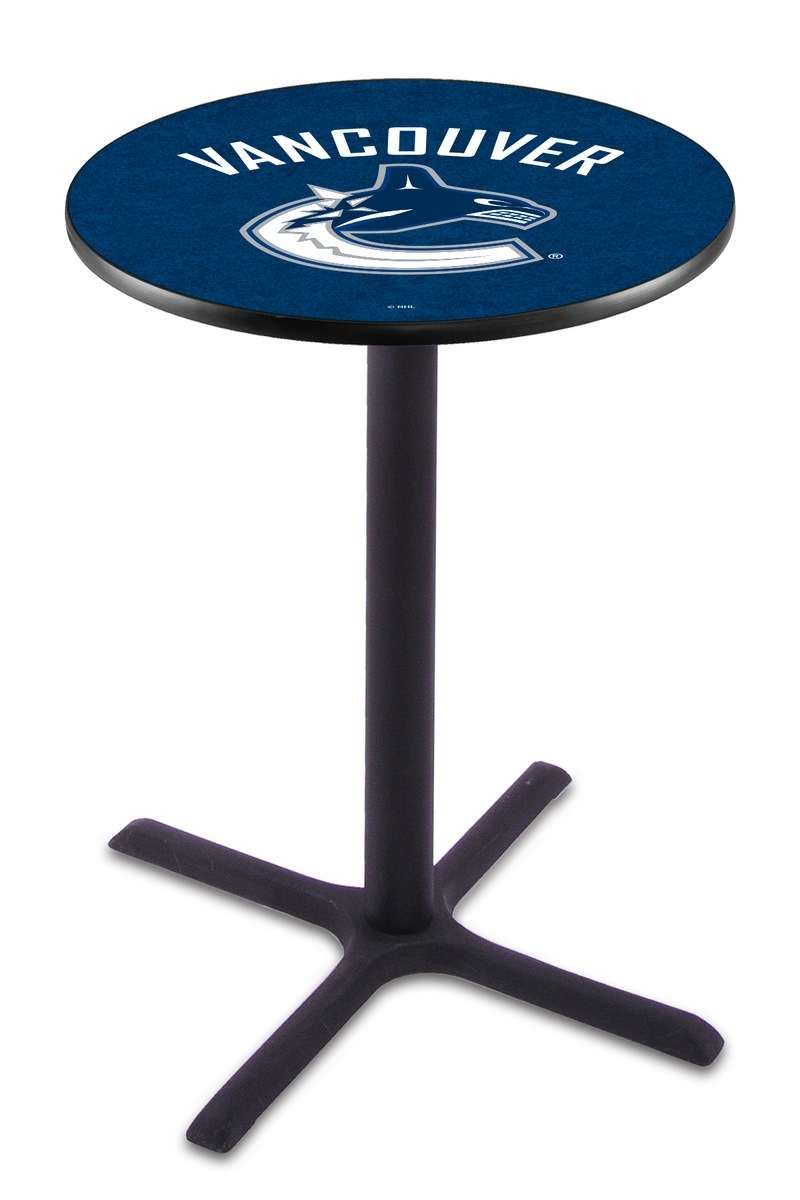 "42"" Black Wrinkle Vancouver Canucks Pub Table with X-Style Base"