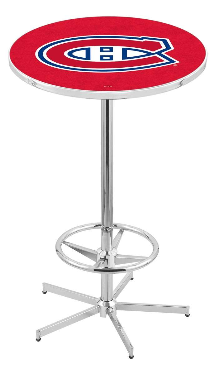 """42"""" Chrome Montreal Canadiens Pub Table with Foot Ring"""