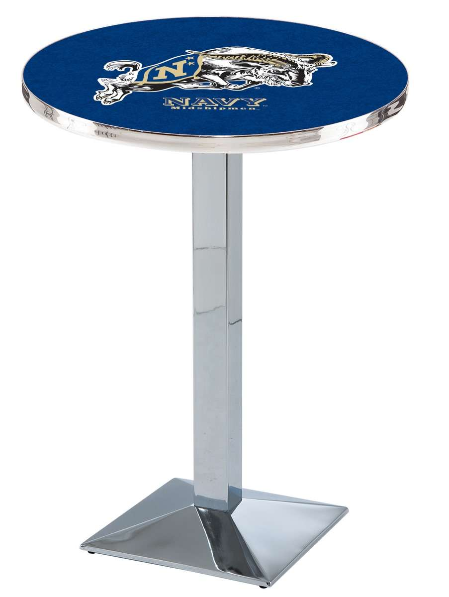 """42"""" Chrome US Naval Academy Pub Table with Square Base"""