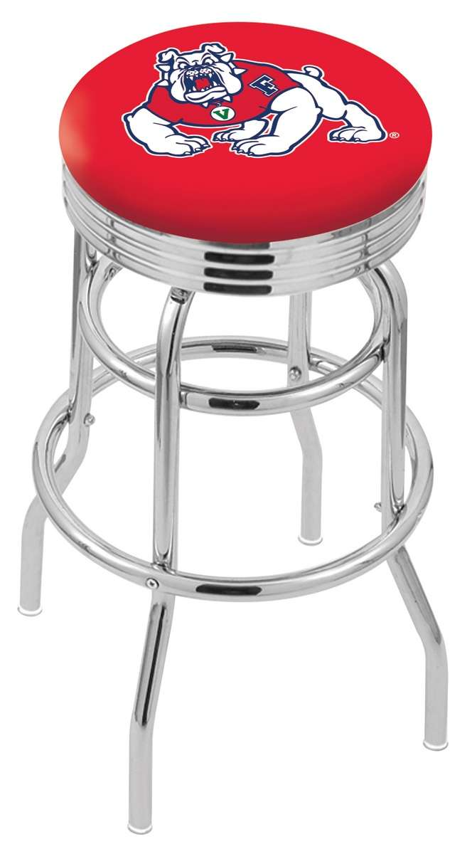 """30"""" Chrome Fresno State University Double-Ring Swivel Bar Stool with 2.5"""" Ribbed Accent Ring"""