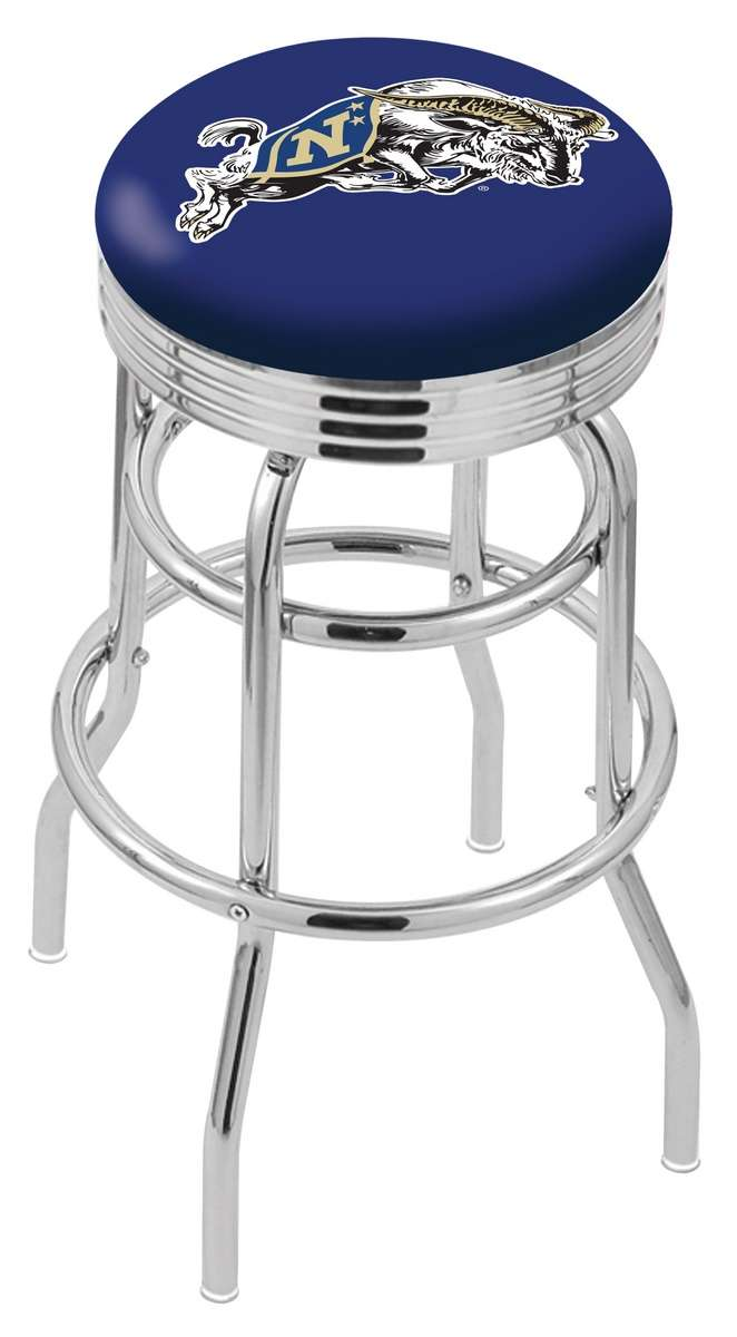 """30"""" Chrome US Naval Academy Double-Ring Swivel Bar Stool with 2.5"""" Ribbed Accent Ring"""