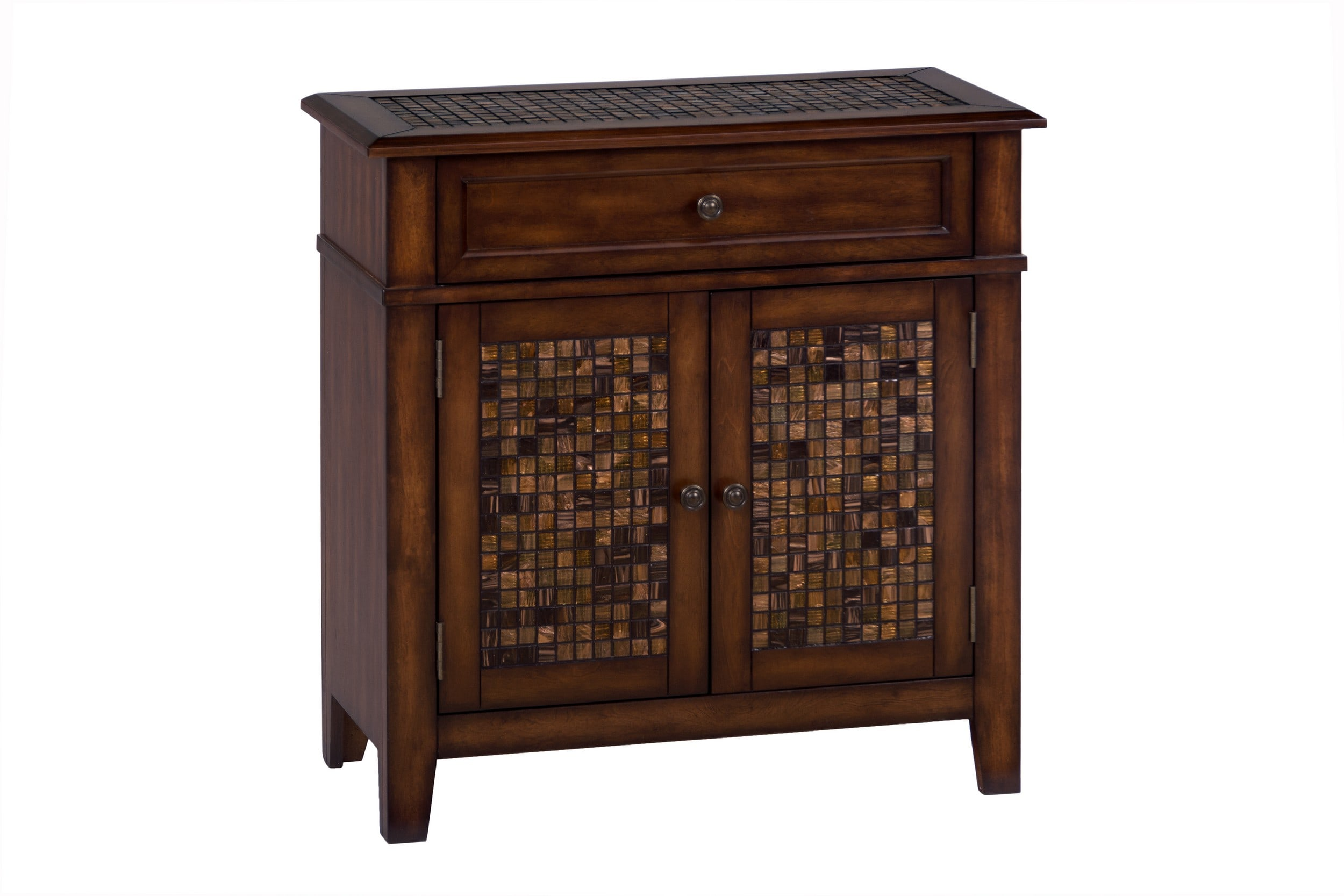 Baroque Brown Accent Cabinet with Mosaic Tile Inlay