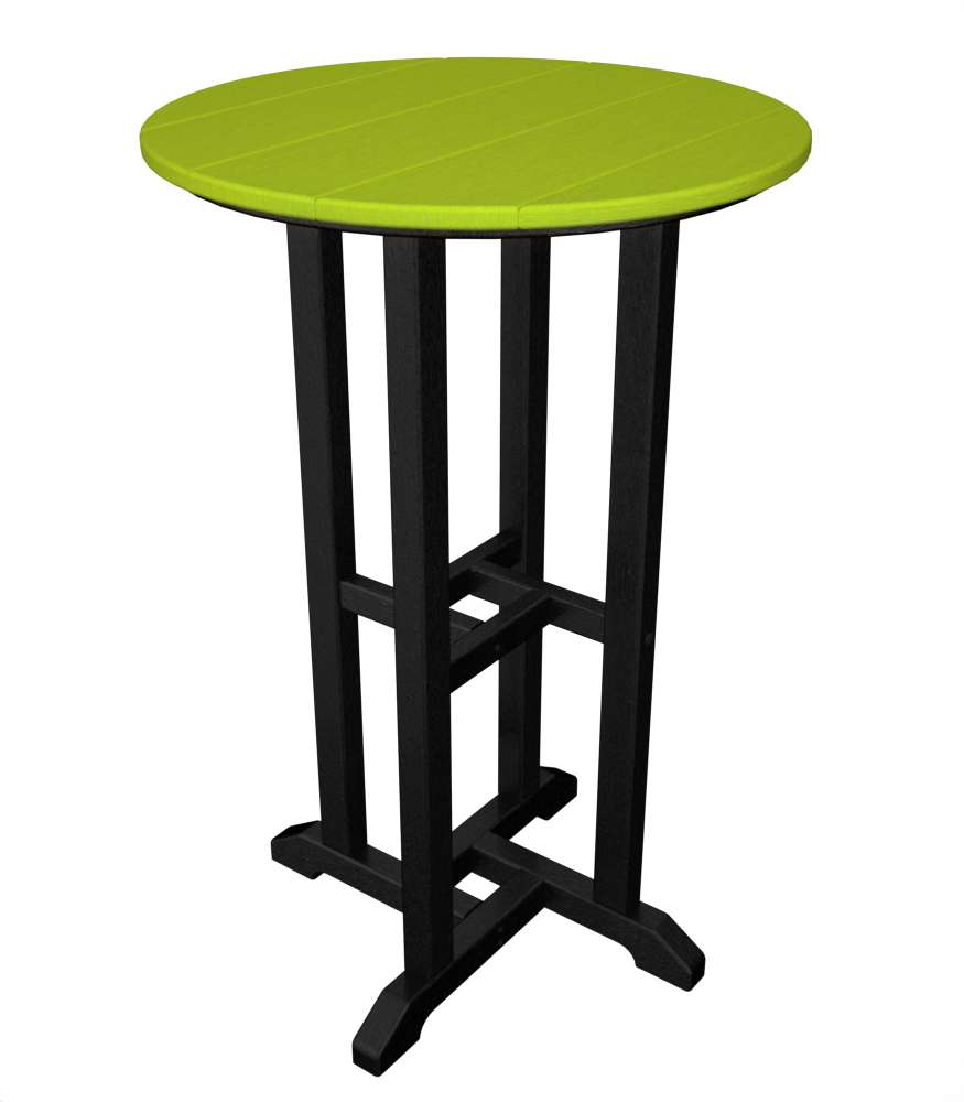 "Black Frame/Lime 24"" Contempo Outdoor Round Counter Table"