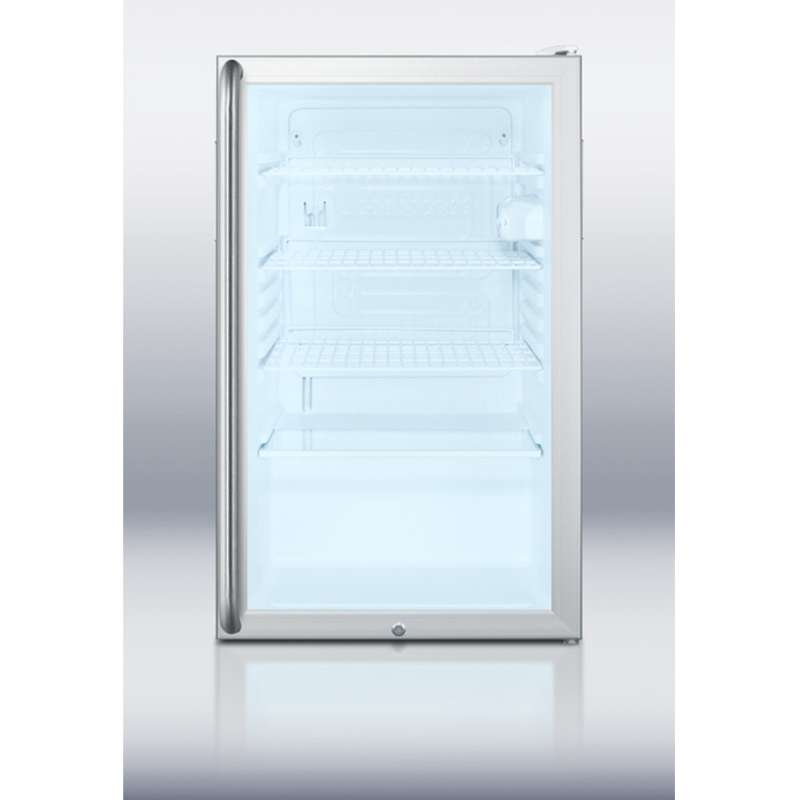 """AccuCold 20"""" 4.1 cu. ft. Stainless Steel Frame Glass Door Freestanding/Built-In Undercounter Compact Refrigerator"""