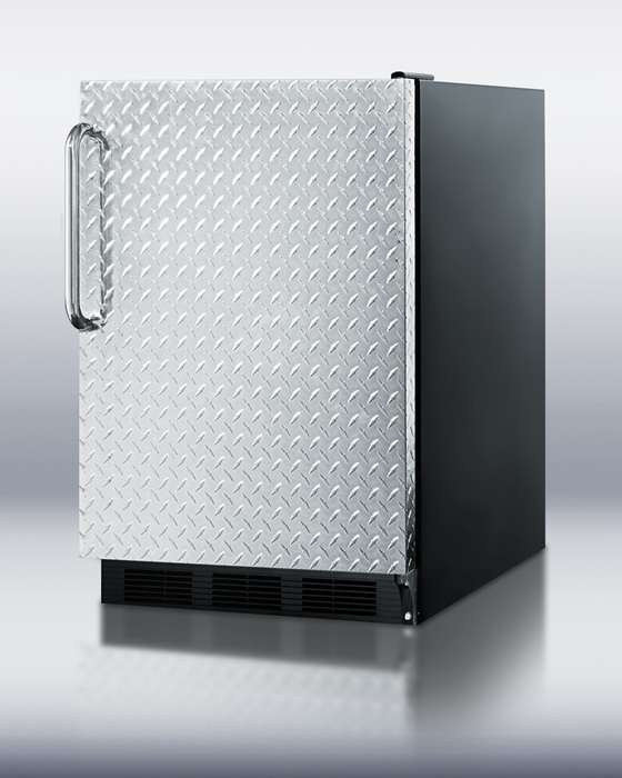 """AccuCold 24"""" 5.5 cu. ft. Stainless Look Textured Built-In Undercounter Compact Refrigerator"""