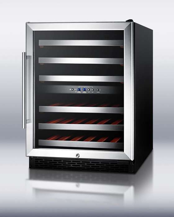 """24"""" 46-Bottle Stainless Steel Undercounter Built-In Wine Chiller - Right Hinge - ADA Compliant"""