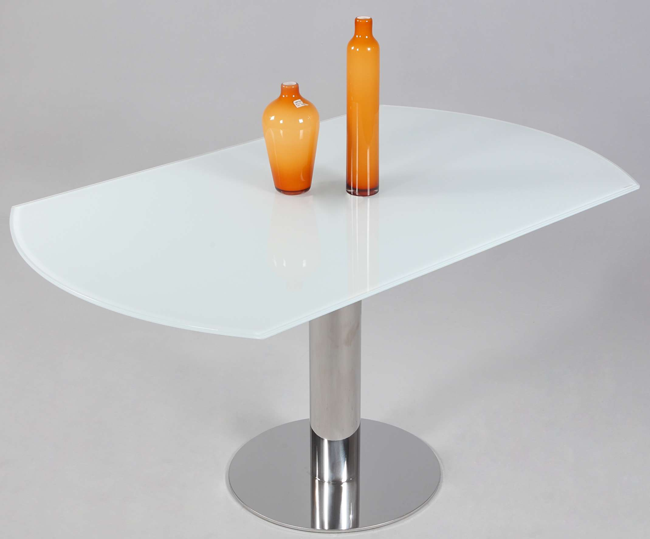 Tami Starphire White Glass Round Extension Dining Table with Polished Stainless Steel Base