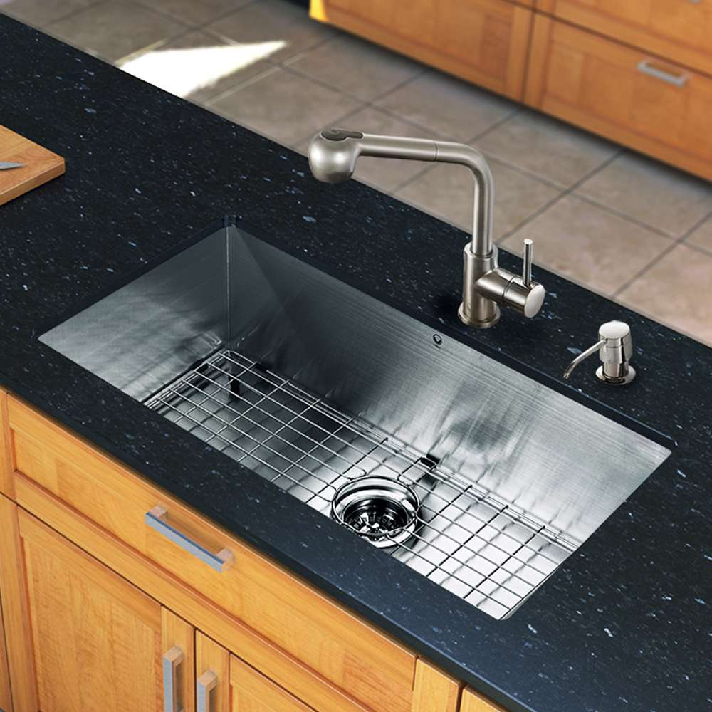 """All in One 30"""" Undermount Stainless Steel Kitchen Sink and Faucet Set"""