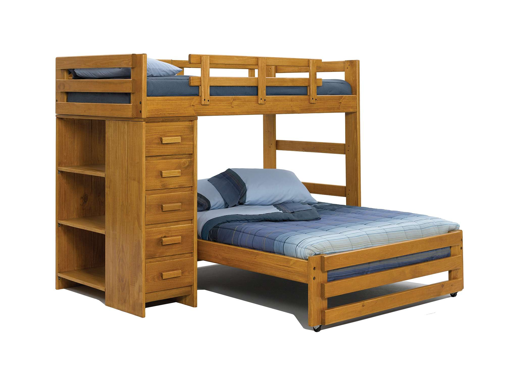 Chelsea Home Honey Twin Over Full Loft Bed With 5 Drawer Chest And