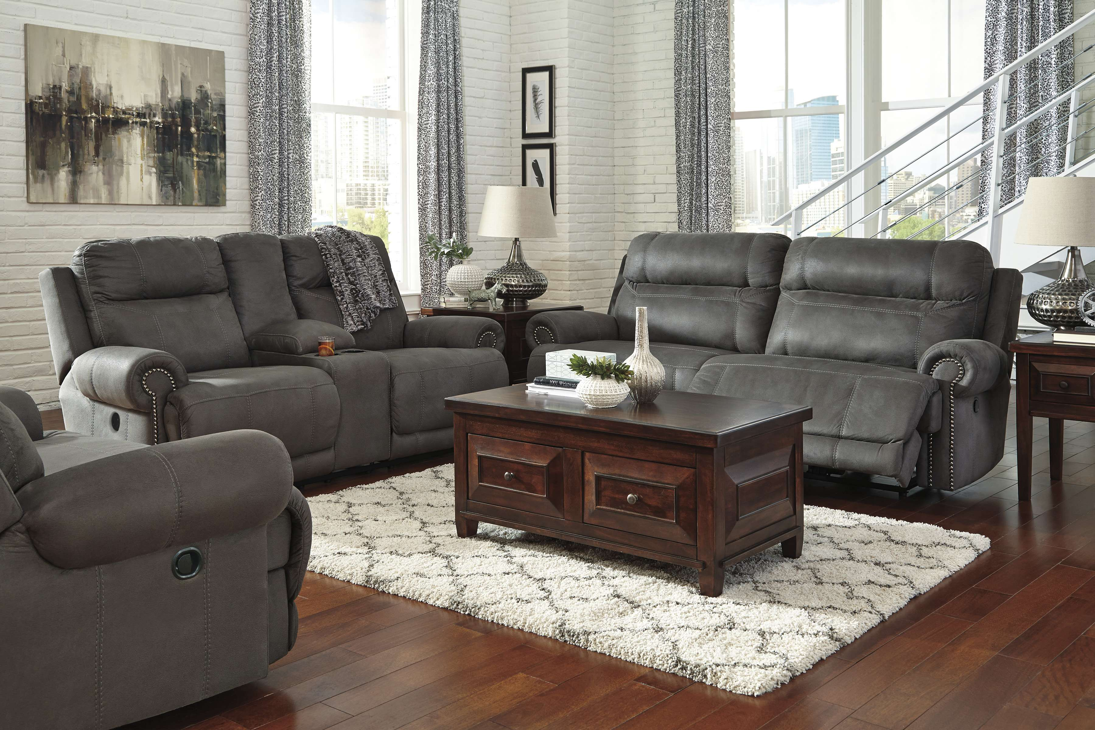 Signature Design By Ashley Austere Gray 3 Piece Living