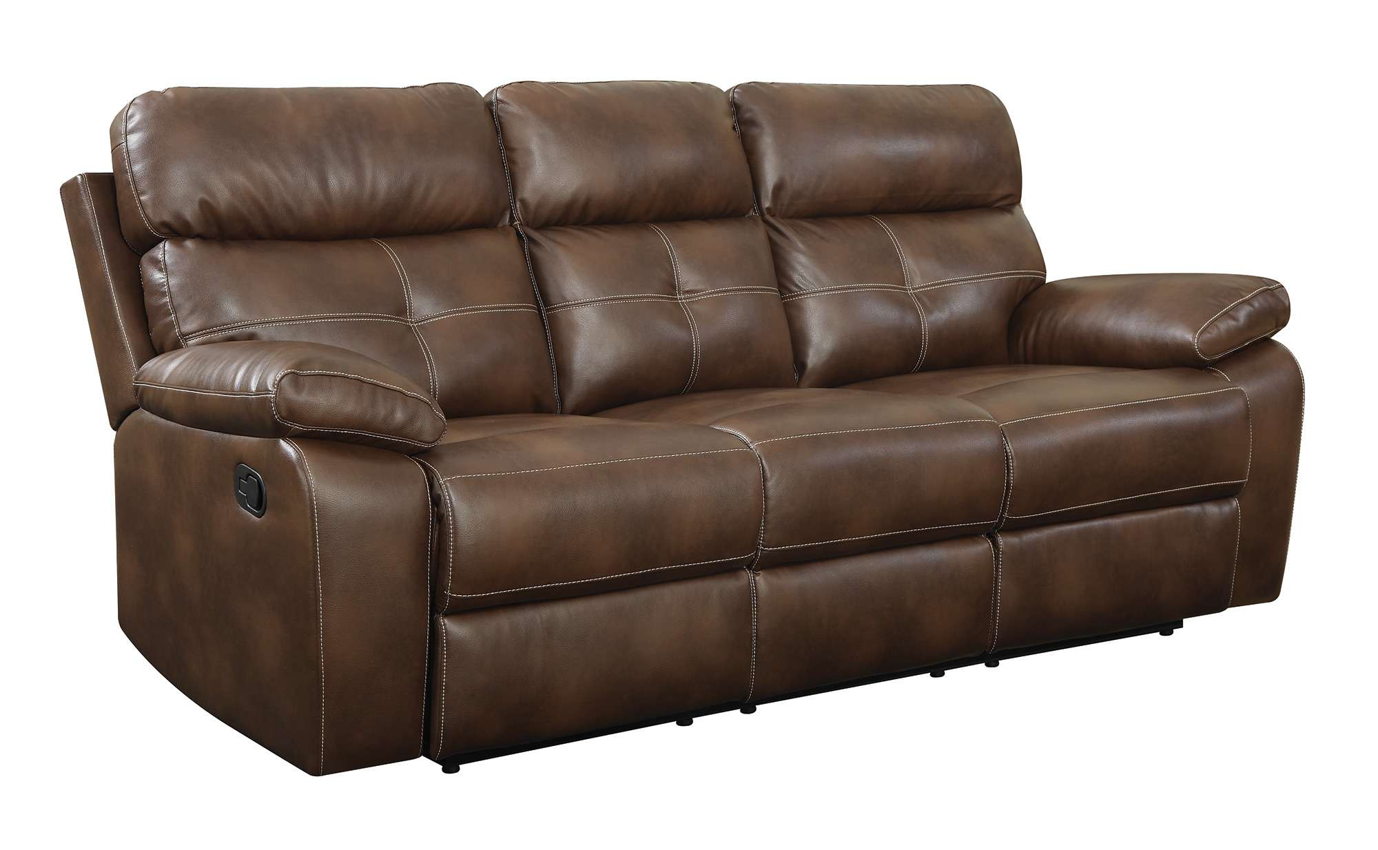 Coaster Damiano Brown Casual Faux Leather Button Tufted Reclining ...