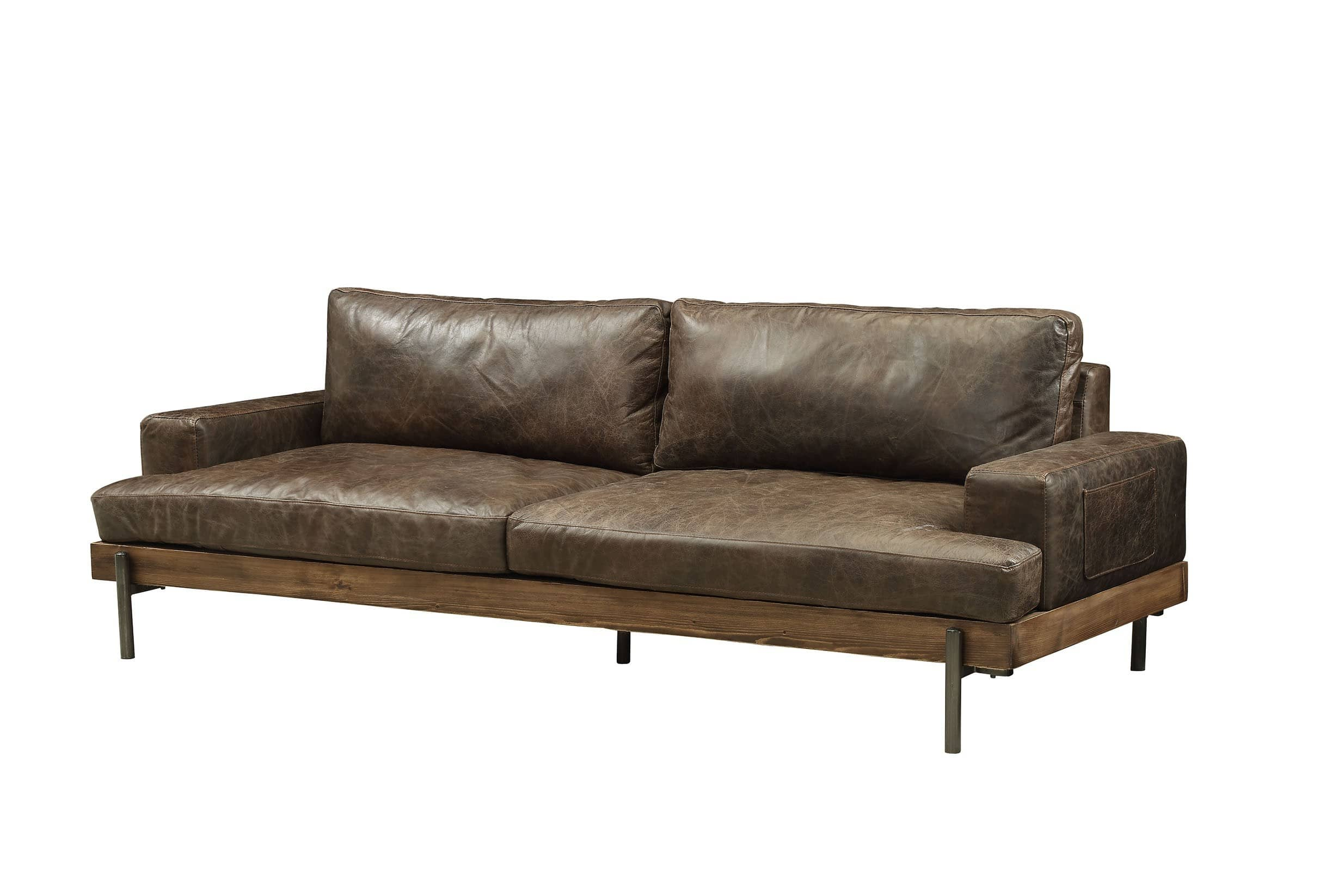 Silchester Oak U0026 Distress Chocolate Top Grain Leather Sofa