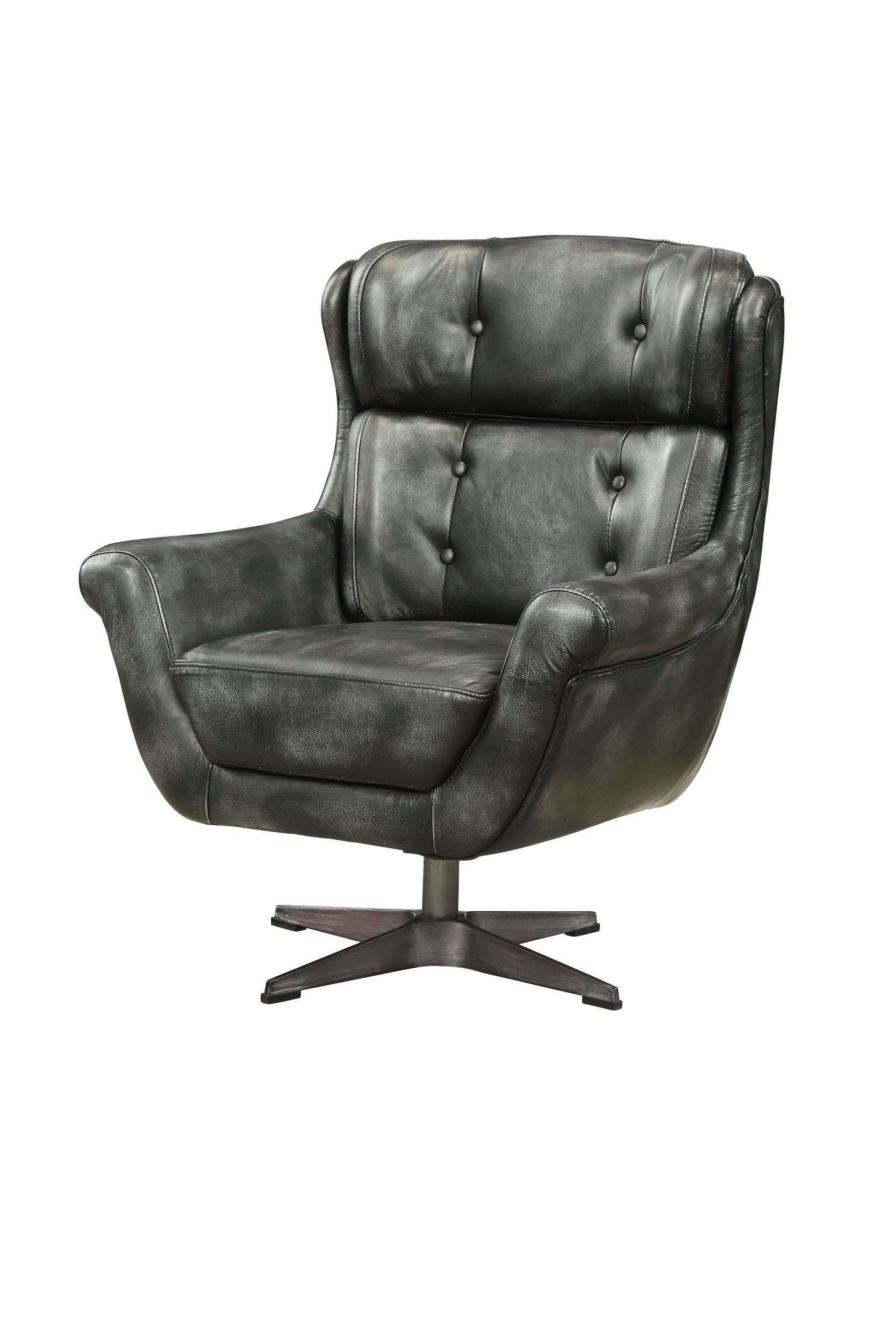 Miraculous Acme Furniture Asotin Vintage Black Top Grain Leather Accent Chair Reviews Goedekers Com Gmtry Best Dining Table And Chair Ideas Images Gmtryco
