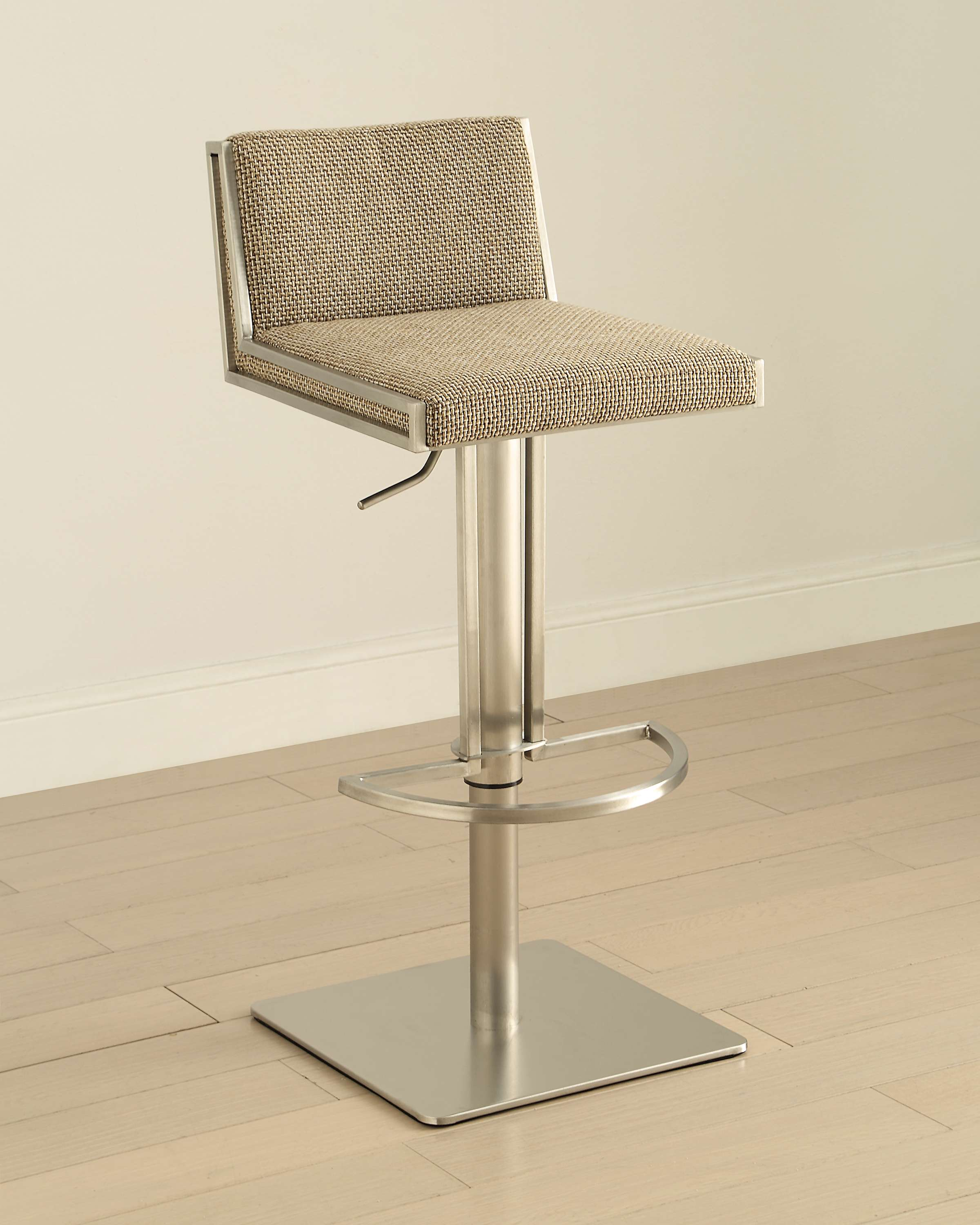 Bon Contemporary Low Back Adjustable Swivel Stainless Steel Barstool