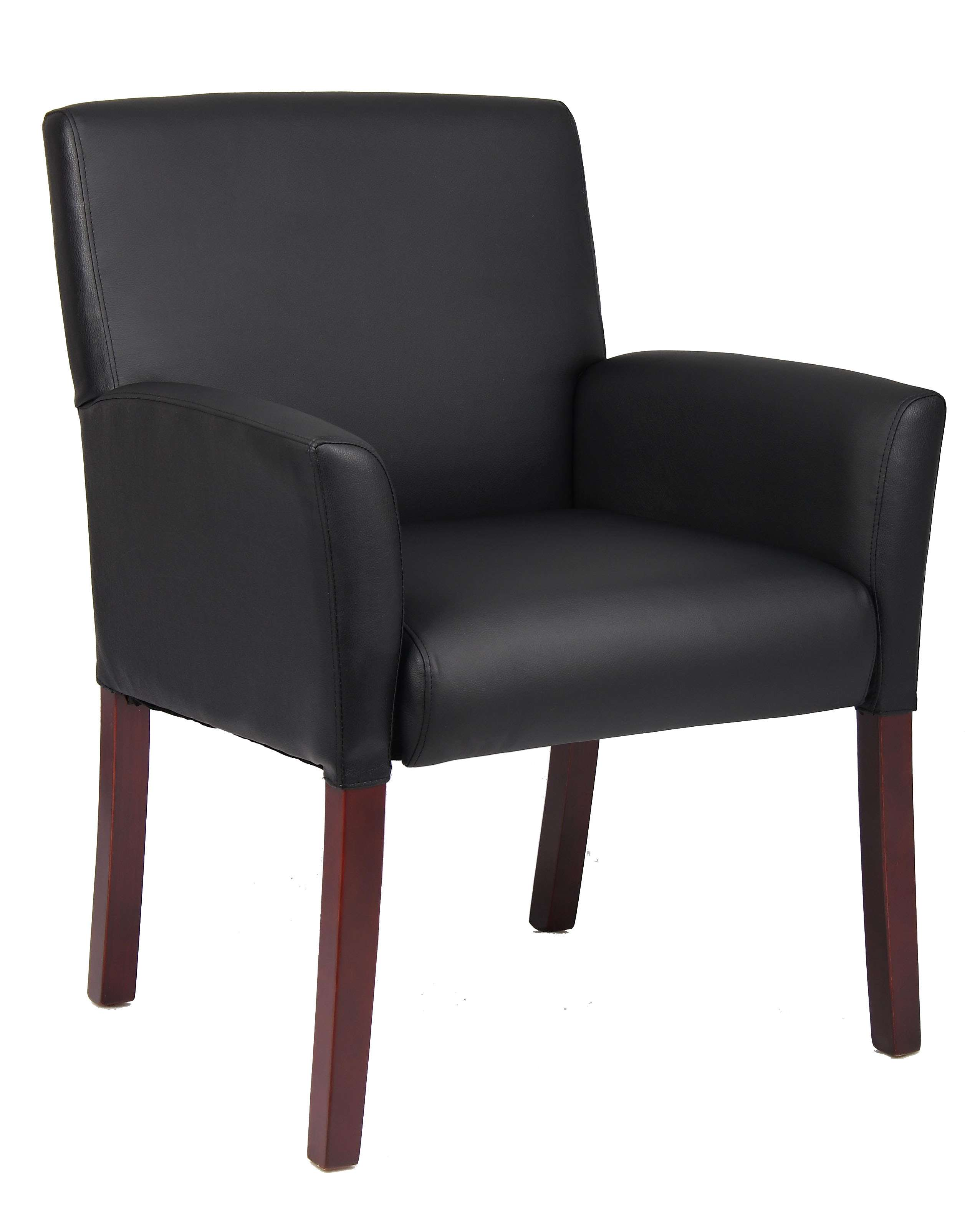 Black Guest Chair In Mahogany Finish