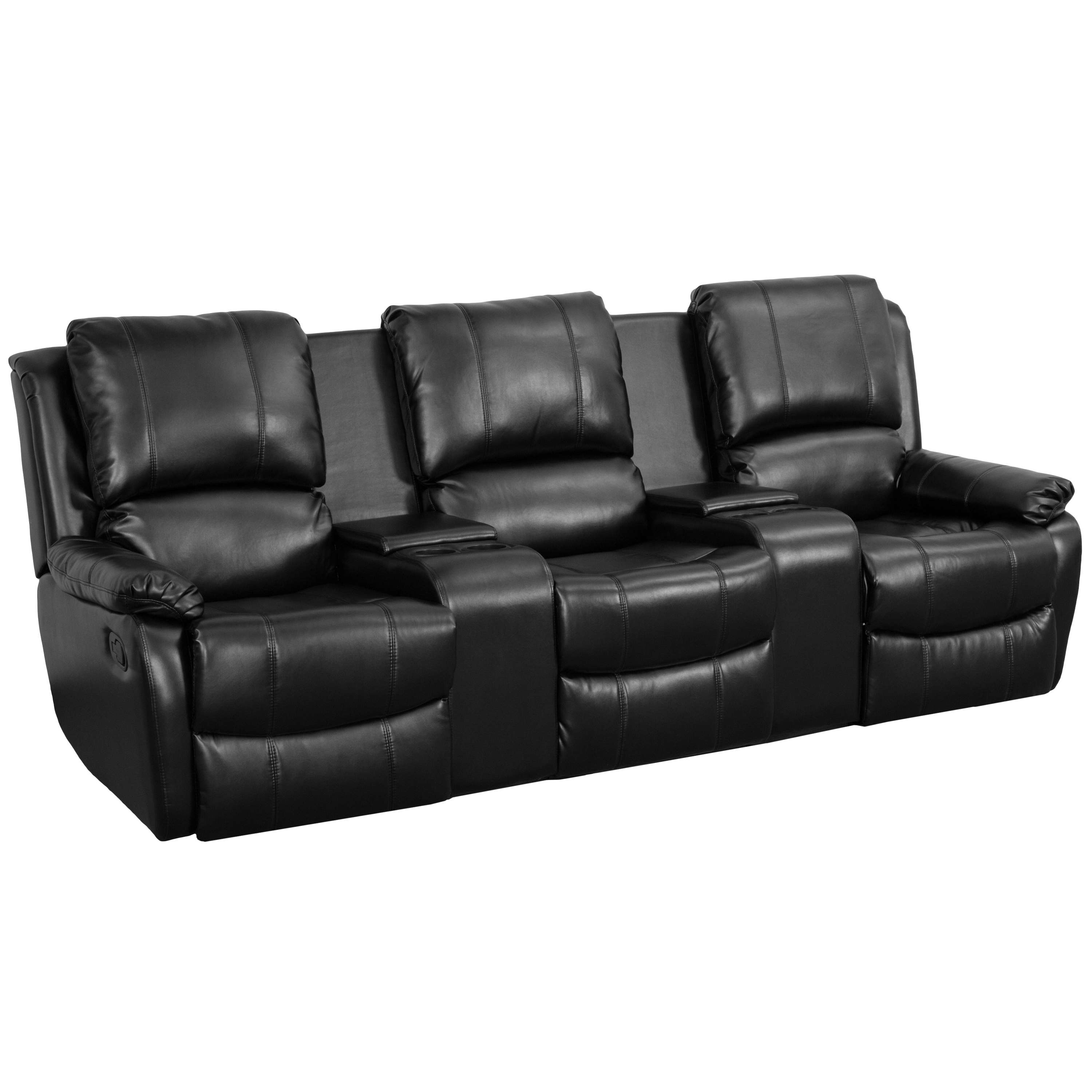 Flash Furniture Allure Series 3-Seat Reclining Pillow Back Black ...