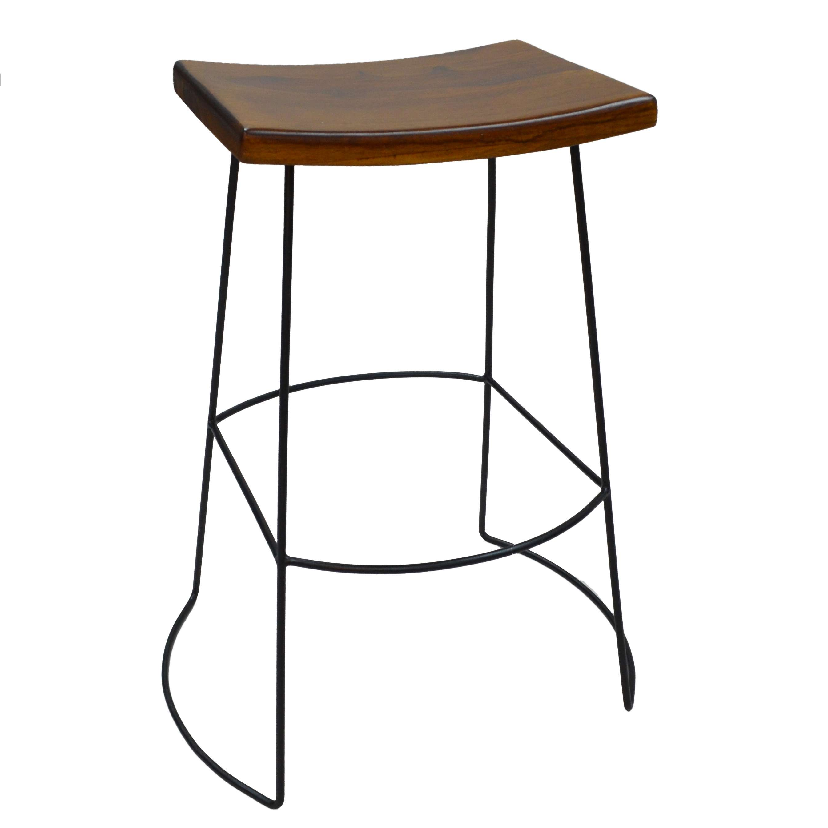 Carolina Chair & Table Reece Brown Saddle Seat Bar Stool with Metal ...