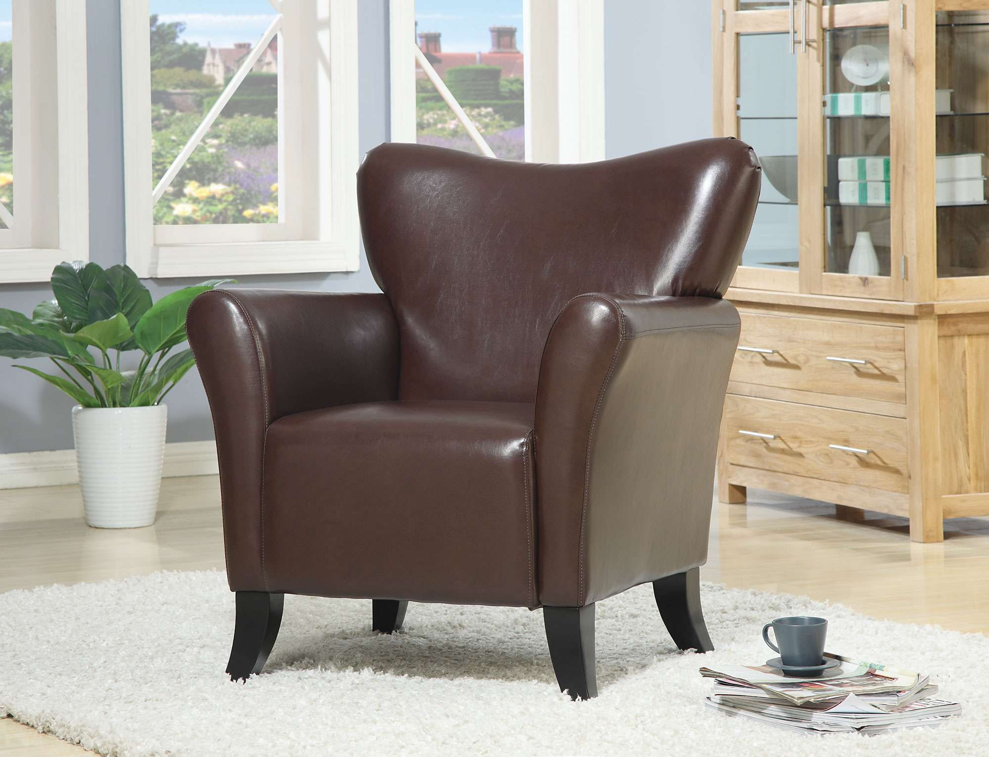 Coaster Brown Vinyl Contemporary Accent Chair Amp Reviews
