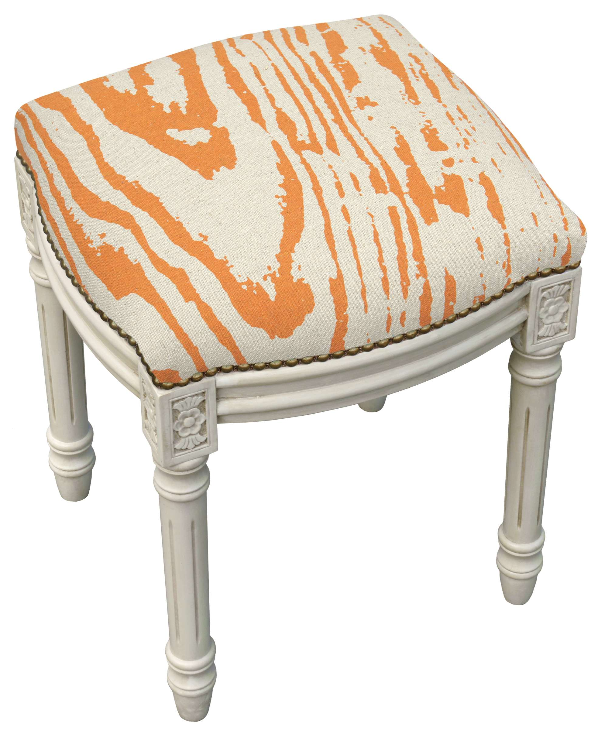 Super 123 Creations Orange Faux Bois Linen Upholstered Vanity Stool With Antique Whitewash Finish Reviews Goedekers Com Theyellowbook Wood Chair Design Ideas Theyellowbookinfo