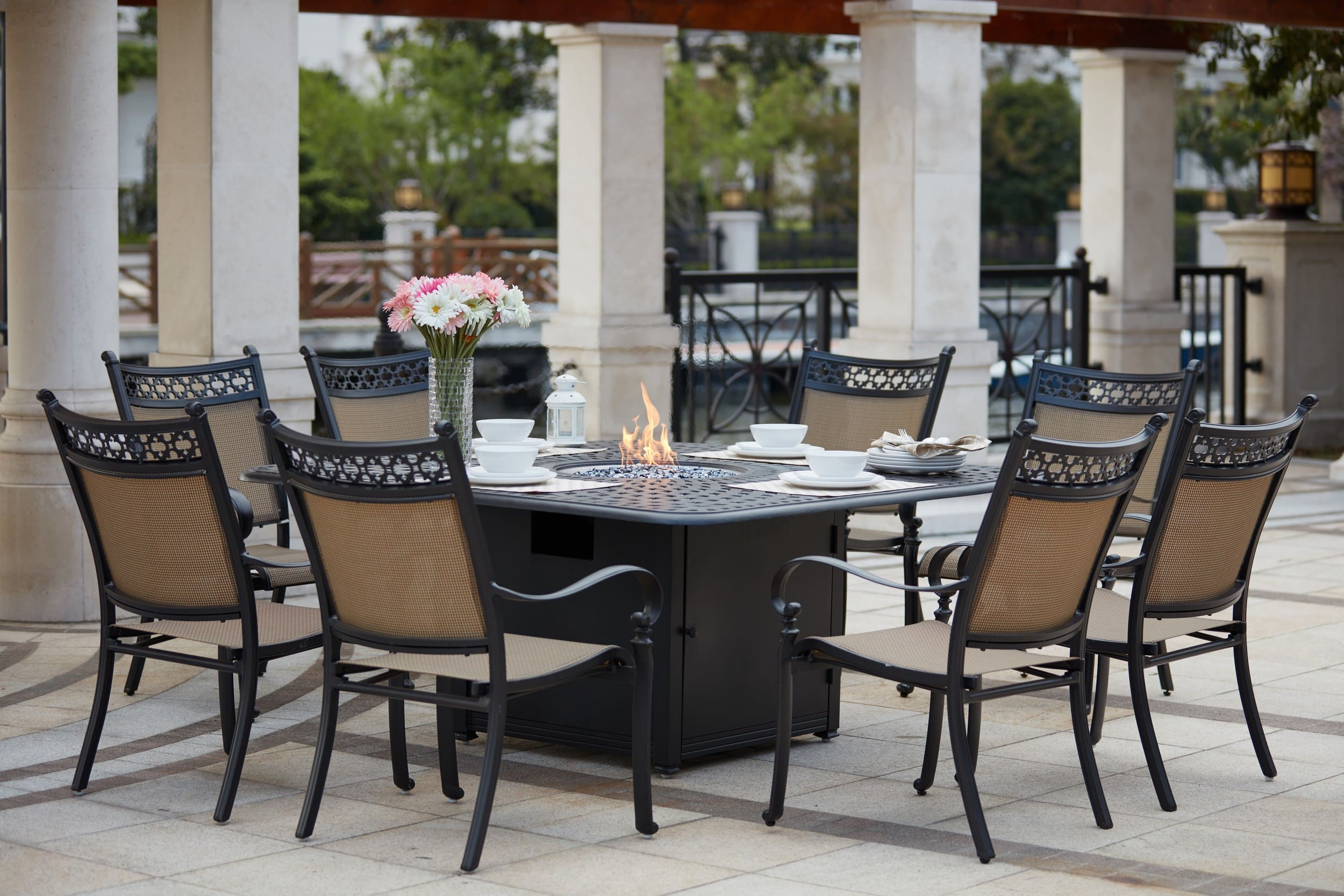 Peachy Darlee Mountain View Cast Aluminum 9 Piece Dining Set With 64 Square Propane Fire Pit Dining Table Reviews Goedekers Com Squirreltailoven Fun Painted Chair Ideas Images Squirreltailovenorg