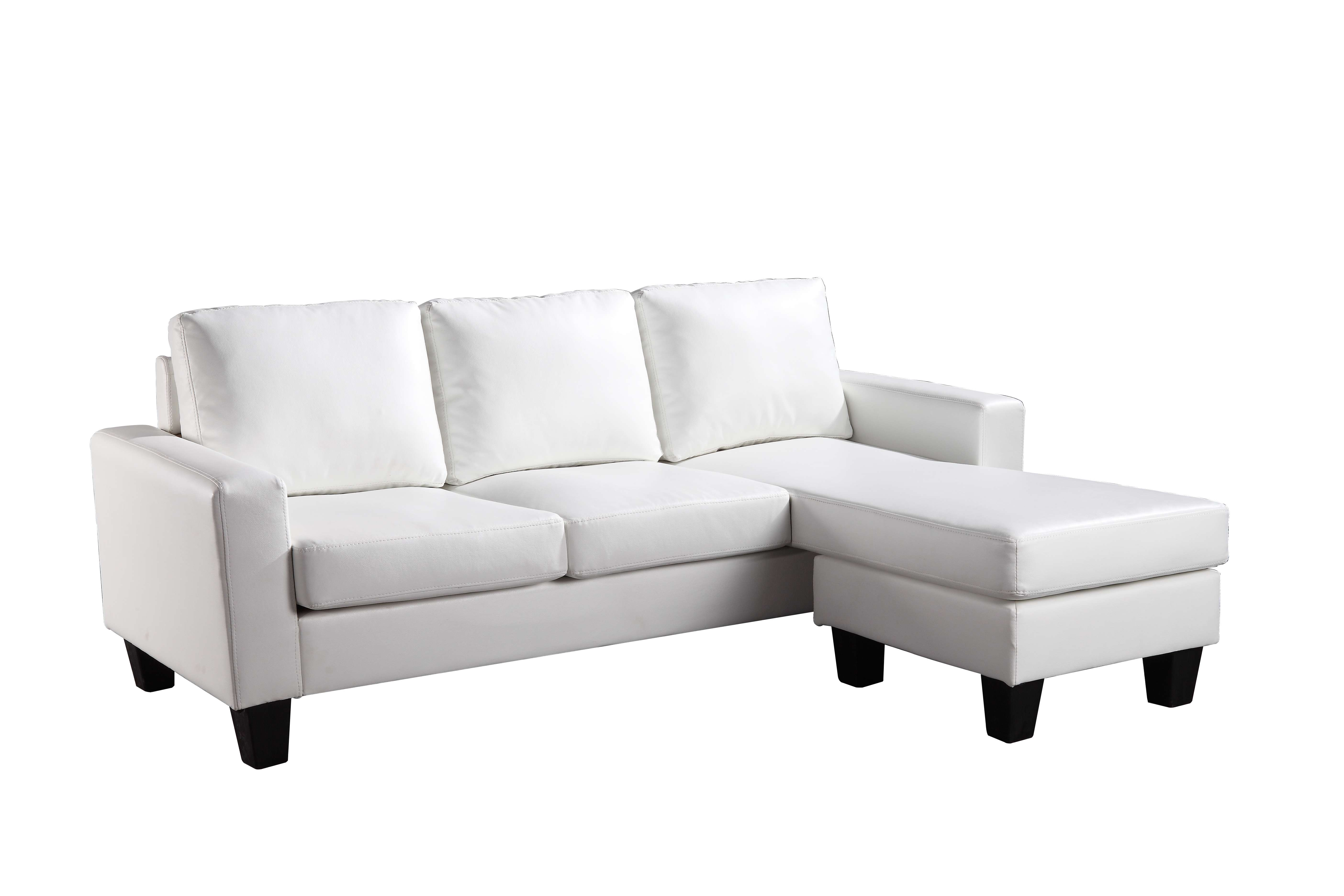 Outstanding Glory White Faux Leather Sofa Chaise Reviews Goedekers Com Cjindustries Chair Design For Home Cjindustriesco