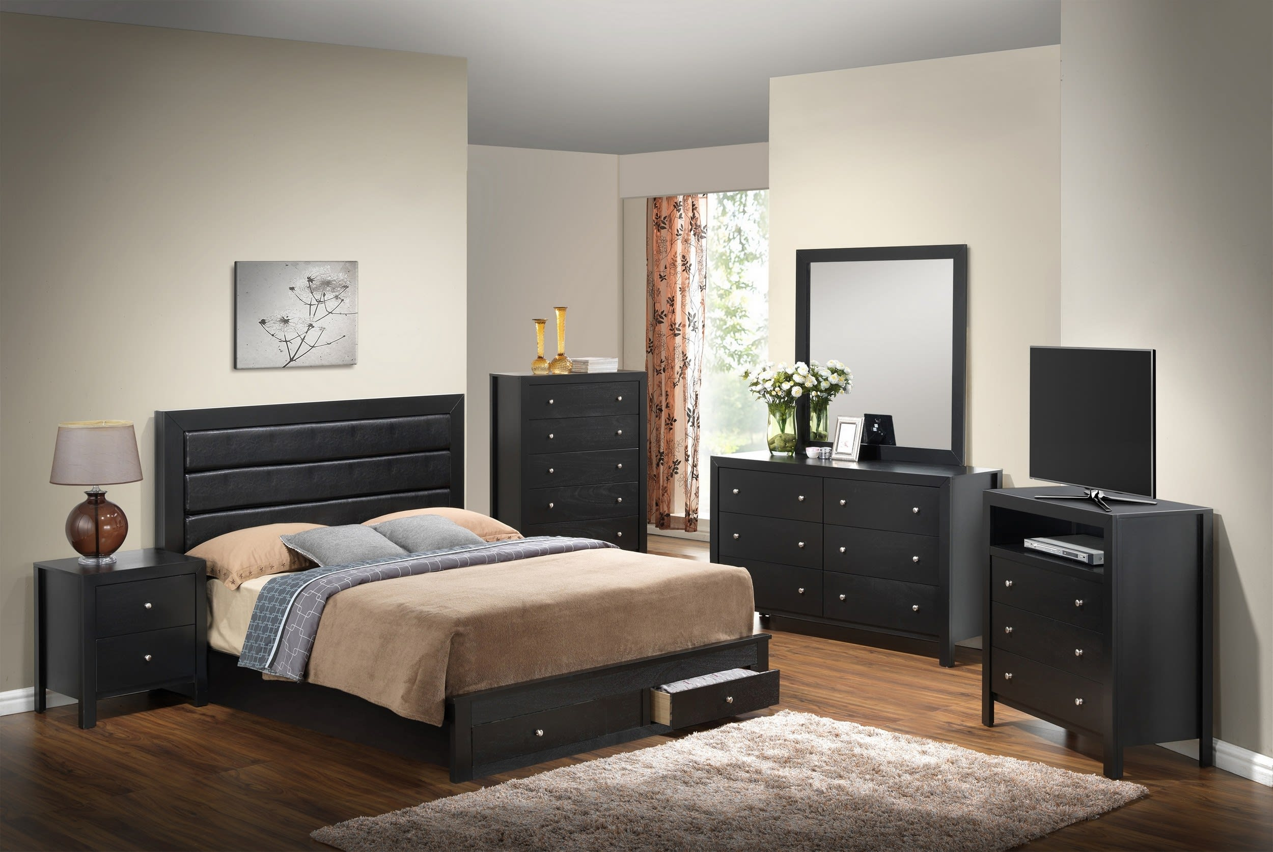 Glory Black Queen Storage 6-Piece Bedroom Set with Padded Headboard &  Reviews - Goedekers.com