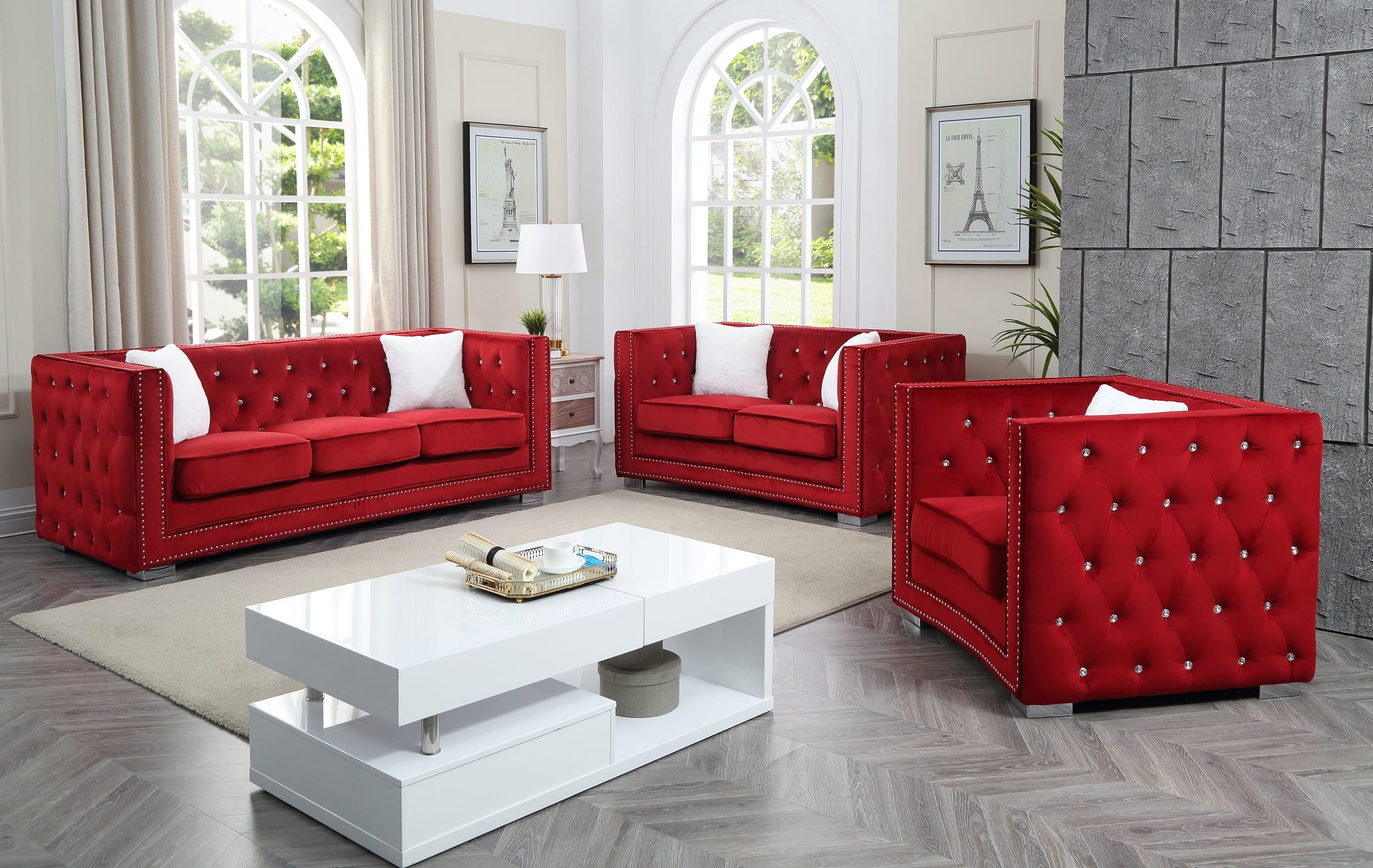 Glory Red Velvet Chesterfield Design Tufted Back 3-Piece Living Room Set &  Reviews - Goedekers.com