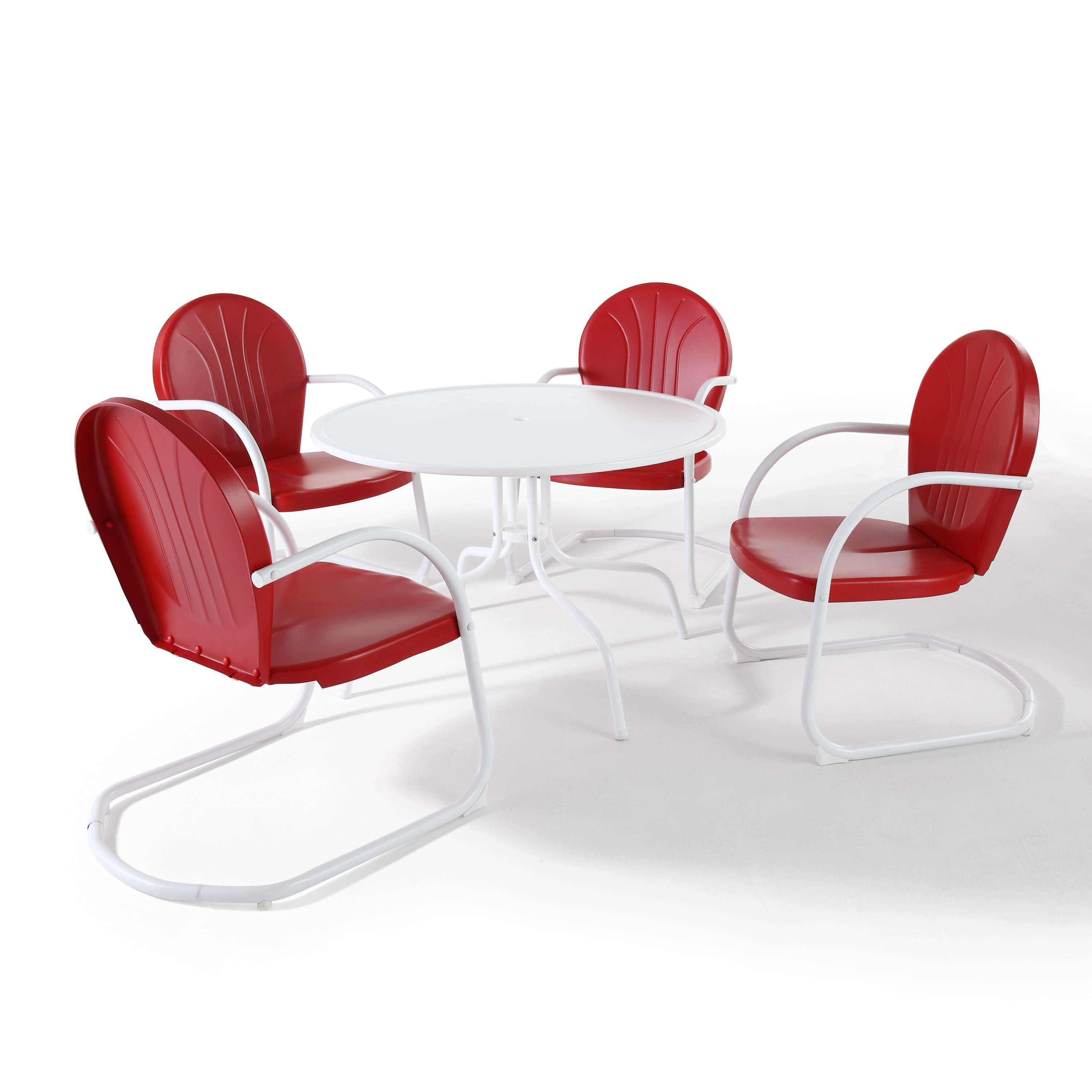 Griffith metal 5 piece outdoor dining set in white finish with red finish chairs