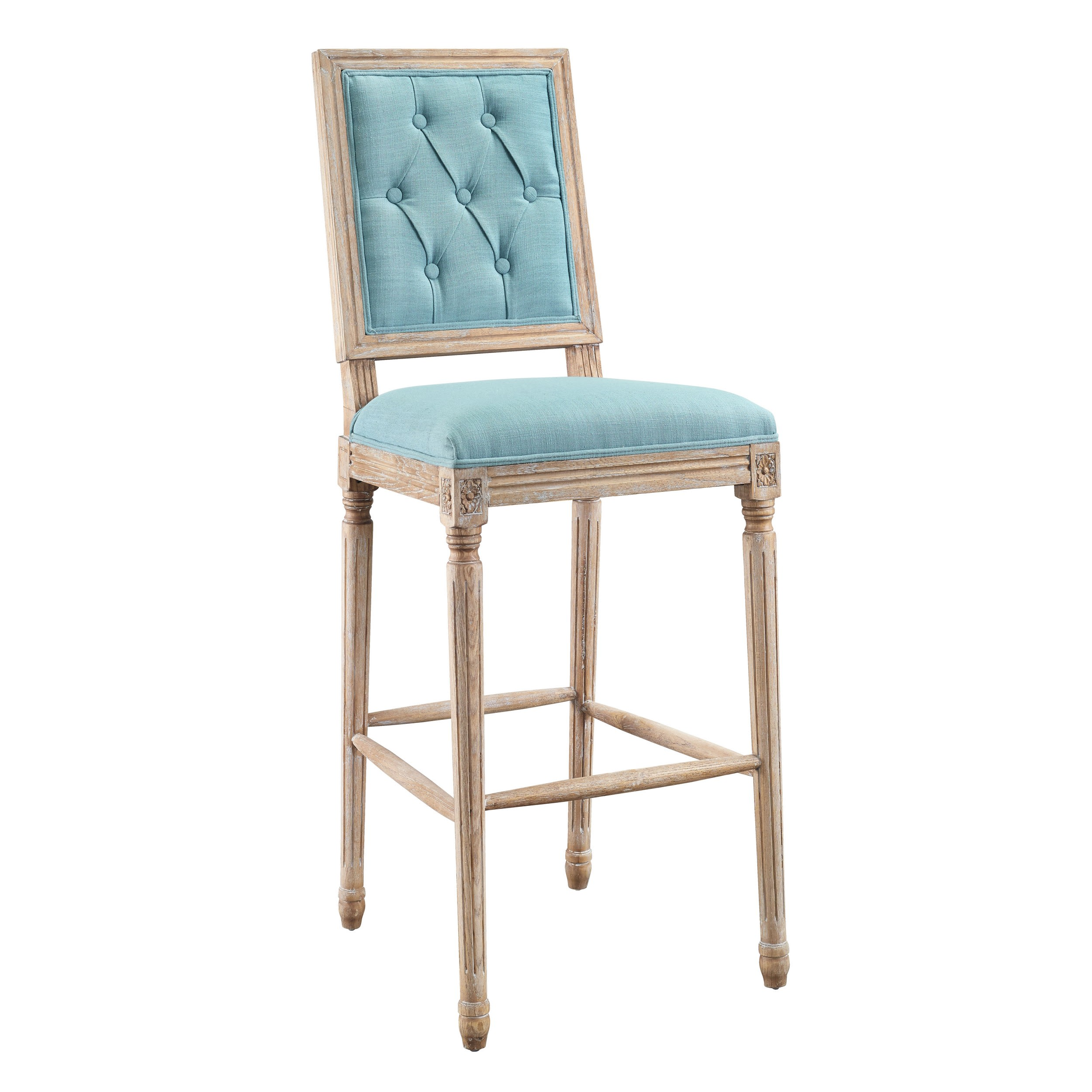 Linon Home Decor Products Inc Avalon Rustic Brown Blue Tufted