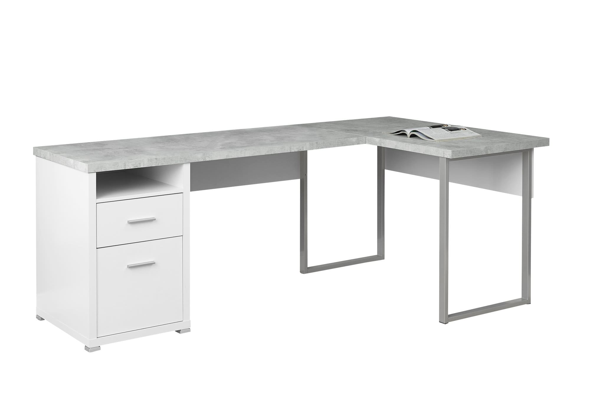 White Cement Look L Shaped 80 Computer Desk