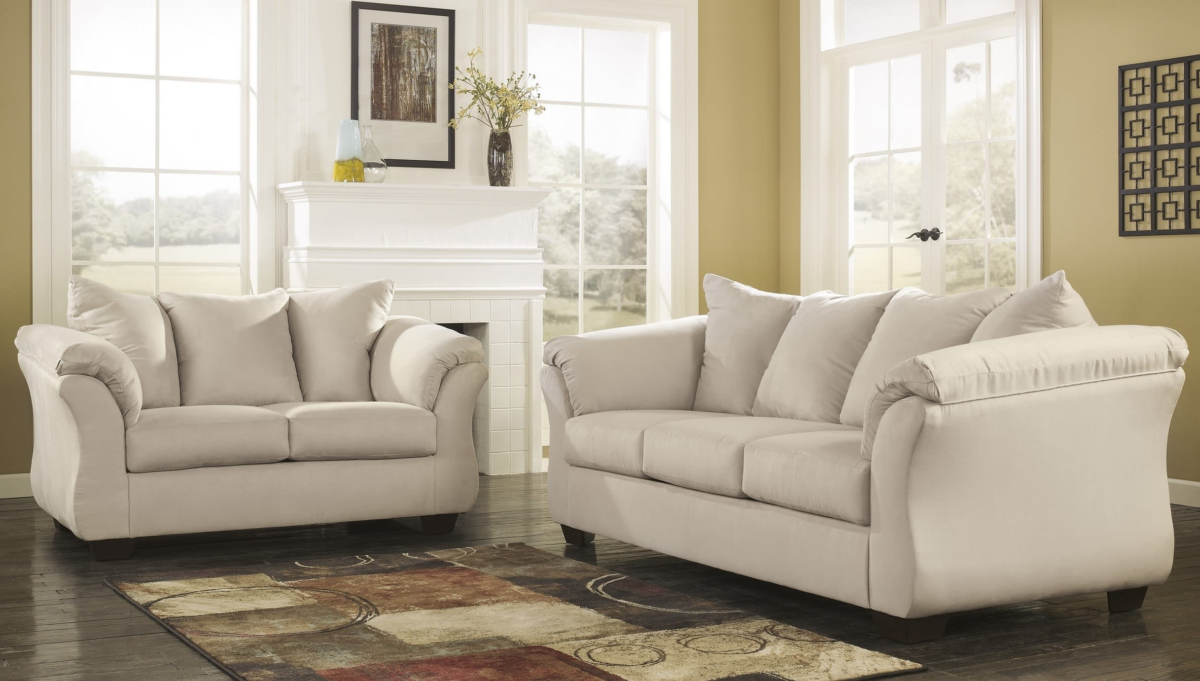 Signature design by ashley darcy stone 2 piece living room - 8 piece living room furniture set ...