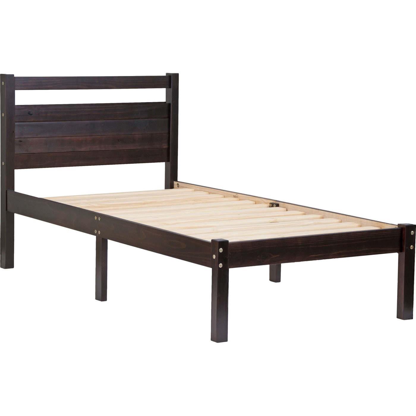 Bronx Bed In A Box, Twin Size Platform Bed, 100% Solid Wood, Java