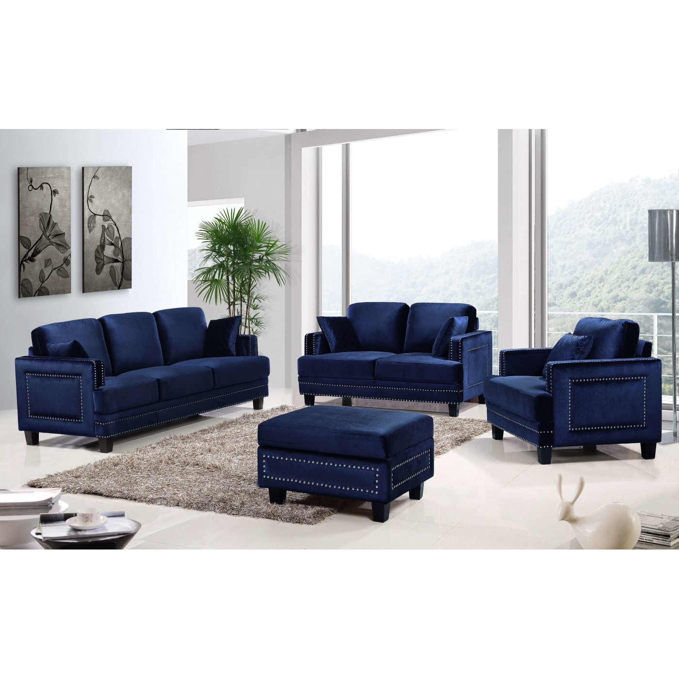 Meridian Ferrara Navy Velvet 3-Piece Living Room Set & Reviews ...