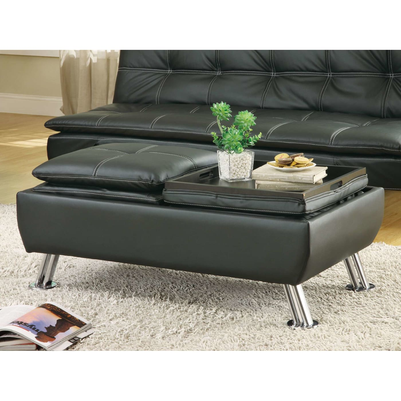 Coaster Black Faux Leather Storage Ottoman With Reversible